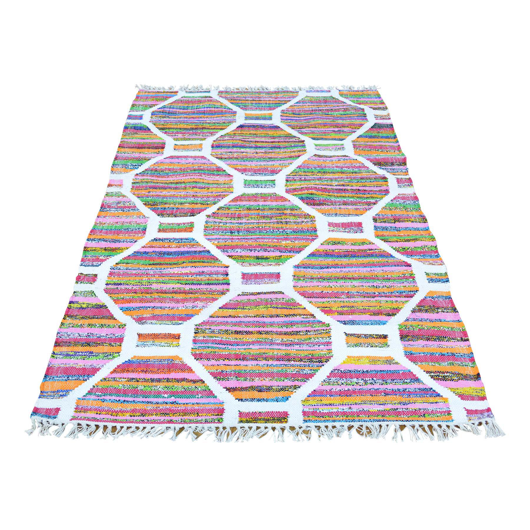 3-5 x5-7  Flat Weave Kilim Cotton And Sari Silk Hand Woven Oriental Rug