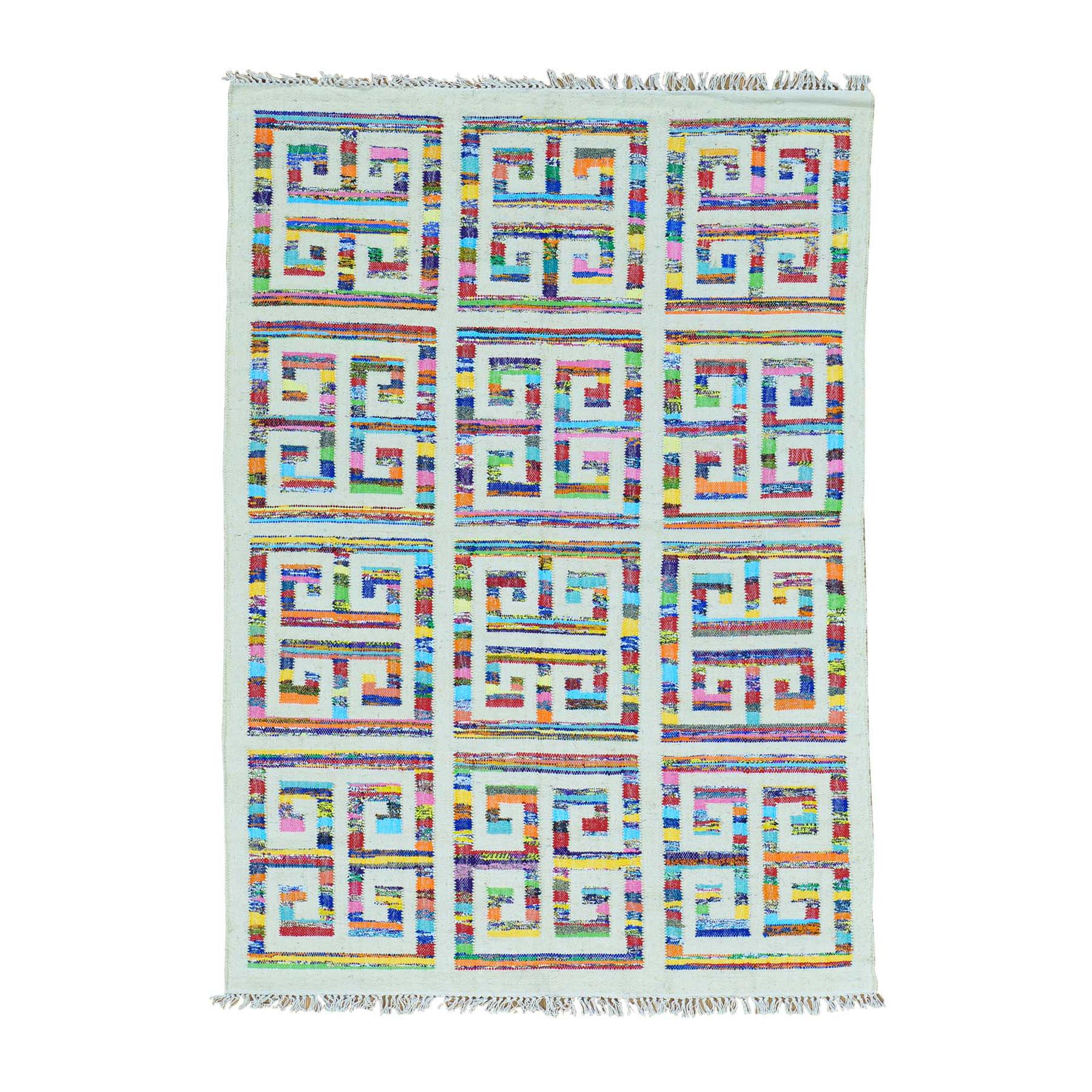 5'X7' Flat Weave Cotton And Sari Silk Hand Woven Kilim Oriental Rug moab9ceb