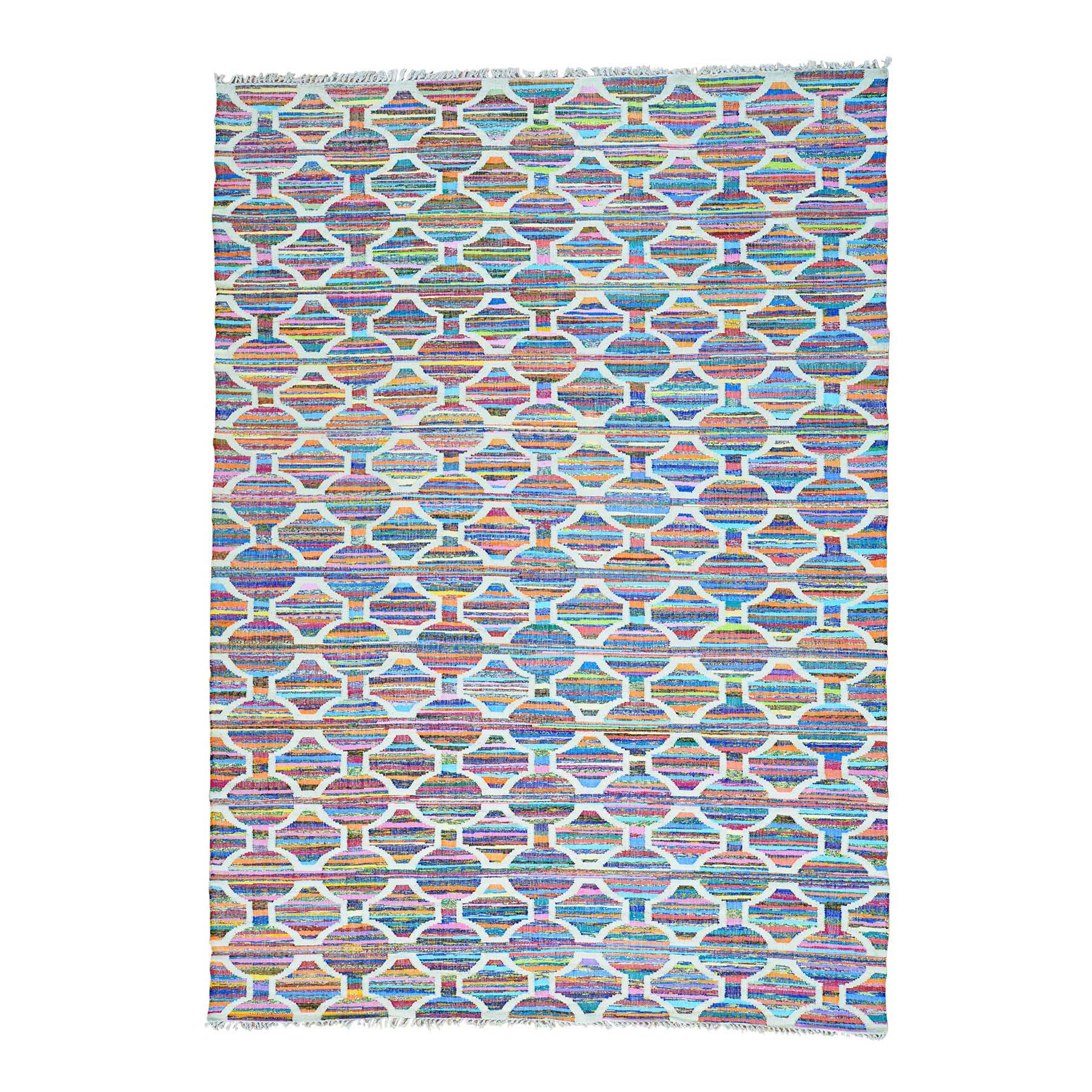 "10'X13'10"" Flat Weave Kilim Geometric Design Hand Woven Oriental Rug moab9ded"