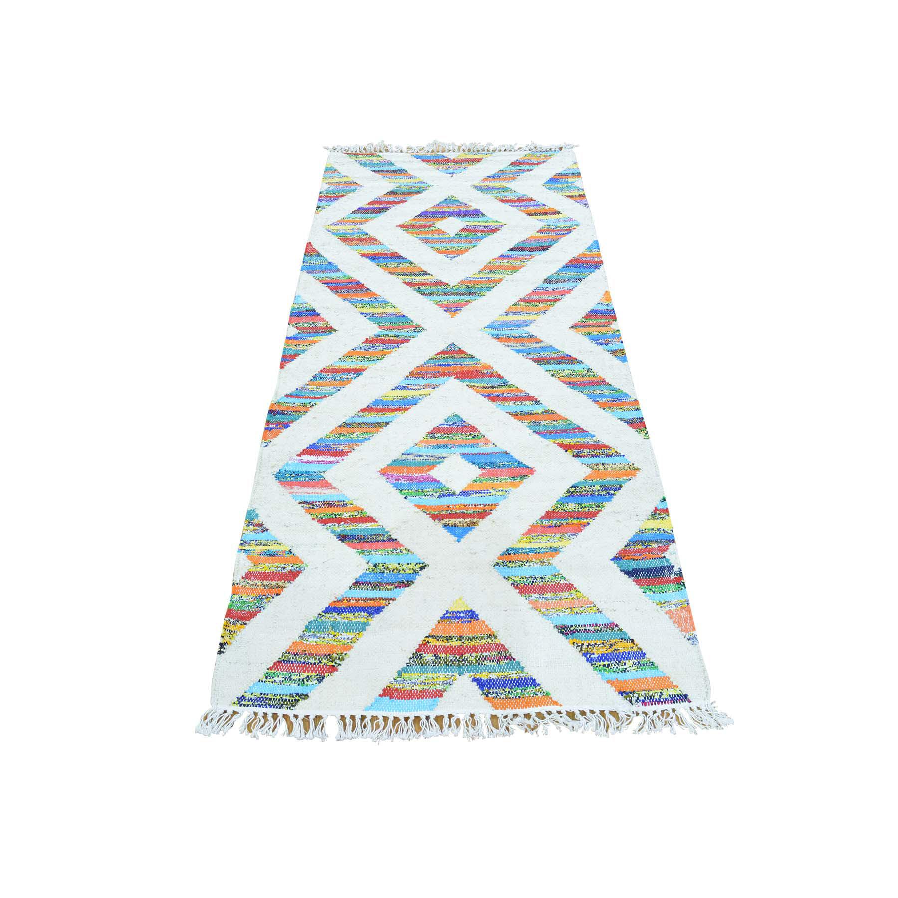 "2'7""X6'3"" Geometric Design Kilim Hand Woven Runner Oriental Rug moab9d7b"