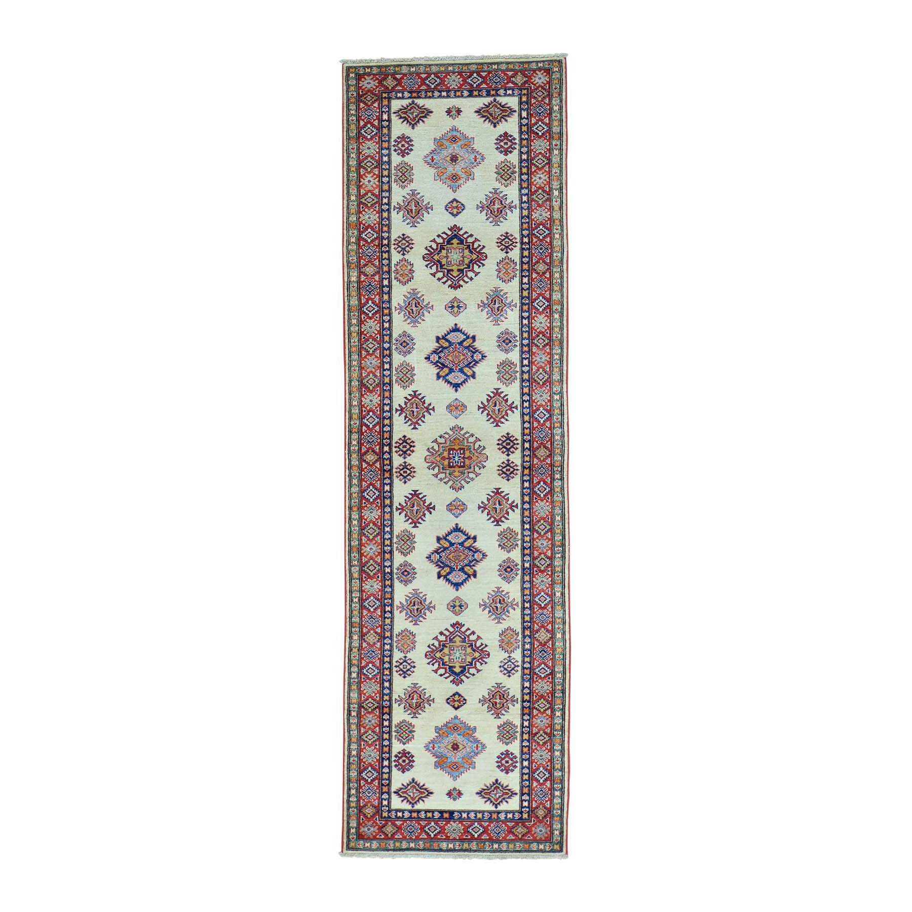 """2'10""""X10' Super Kazak Runner Ivory Hand Knotted Pure Wool Oriental Rug moab960a"""