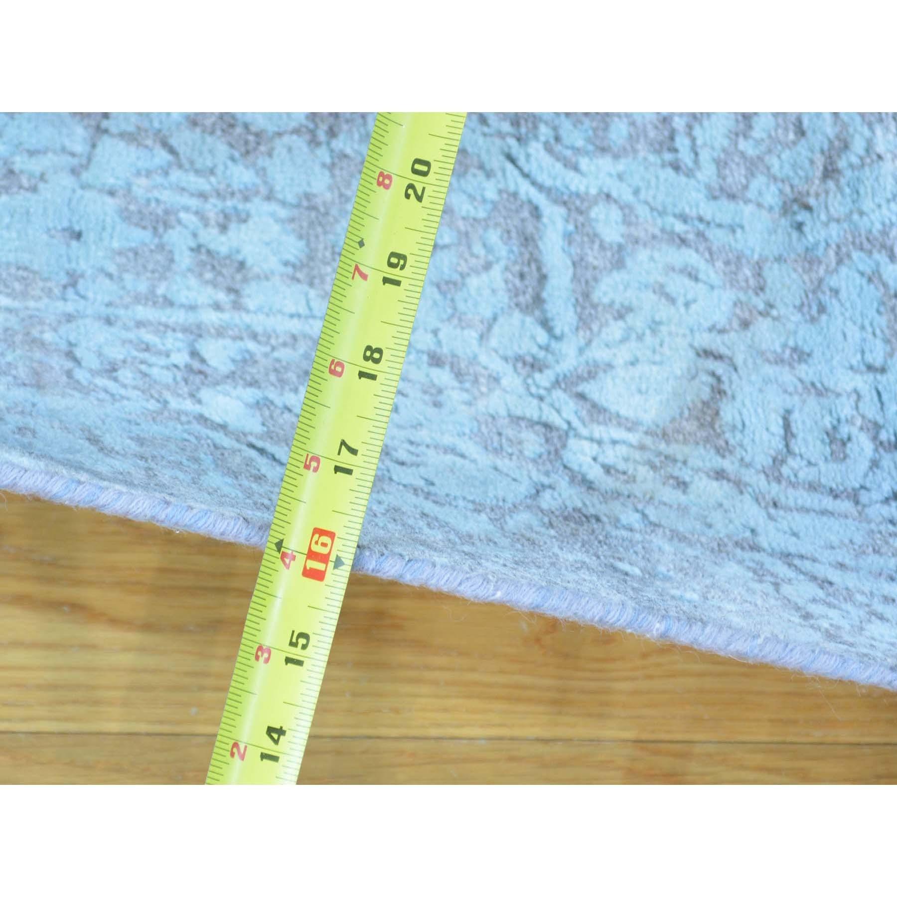 "2'7""x14' Tone on Tone Runner Wool and Silk Broken Persian Design Rug"