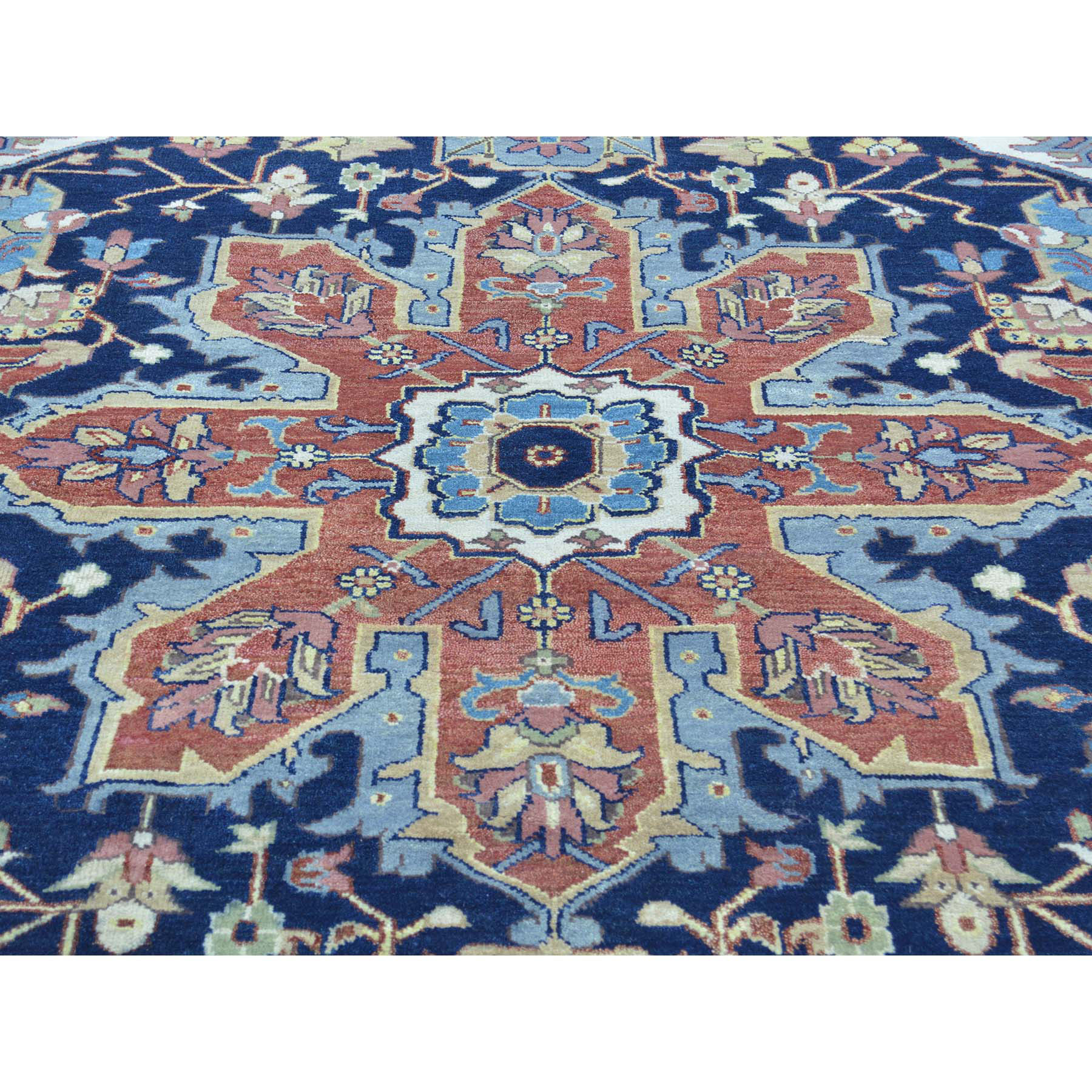 8-6 x11-10  Pure Wool Hand Knotted Navy Blue Serapi Heriz Oriental Rug