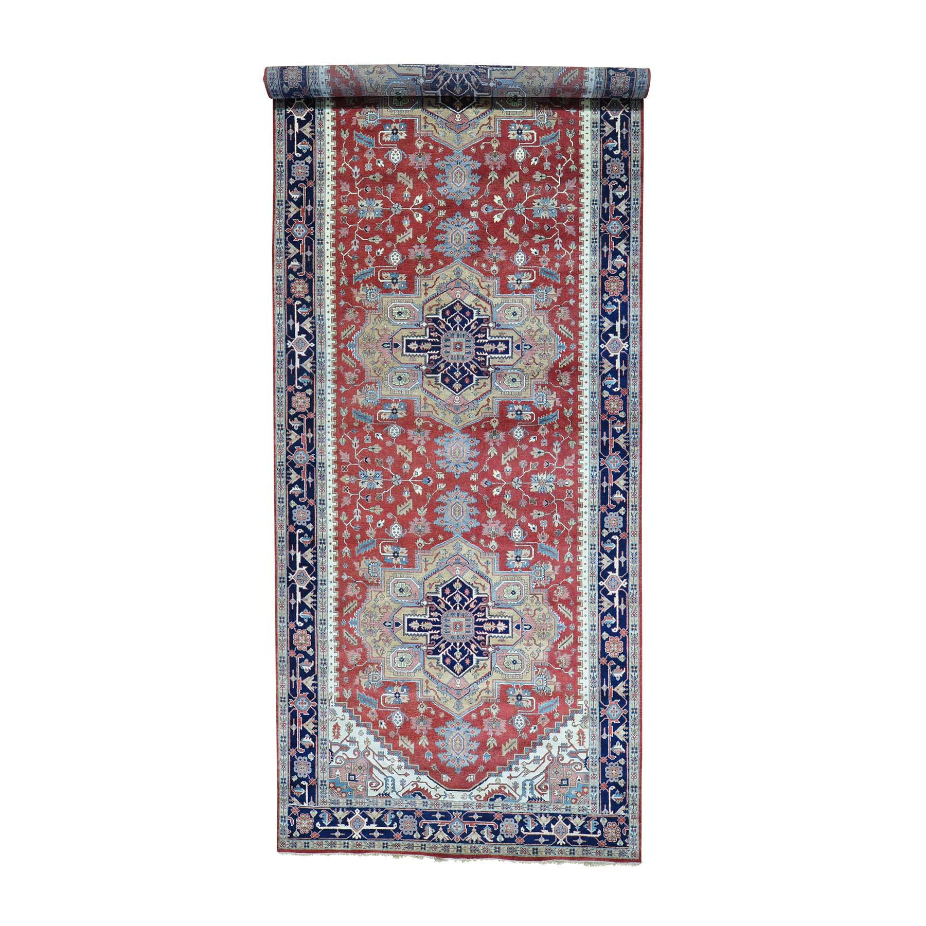"9'X24'8"" Pure Wool Hand Knotted Gallery Size Heriz Oriental Rug moab9787"