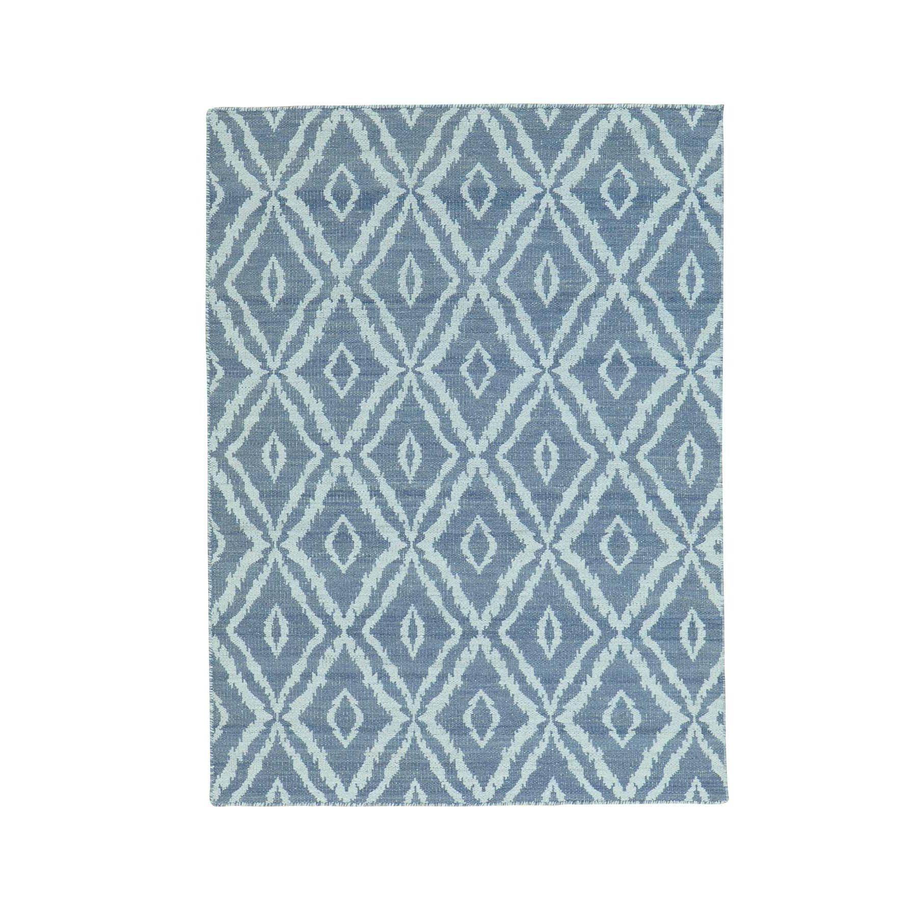 "4'3""X6' Reversible Kilim Pure Wool Hand Woven Oriental Rug moab98ba"