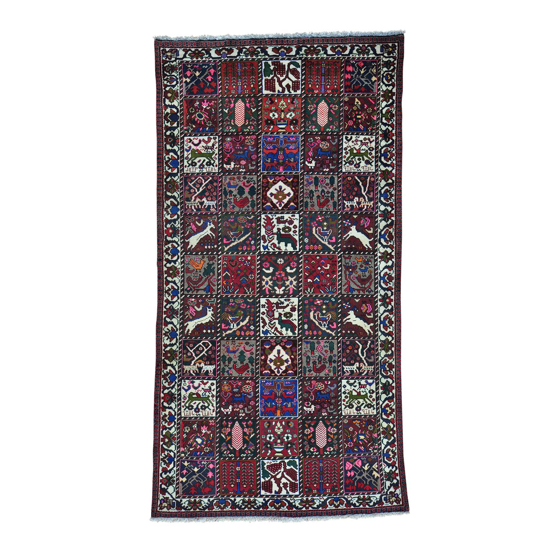 "5'X9'7"" Persian Bakhtiari Garden Design Wide Runner Hand Knotted Rug moab99ab"