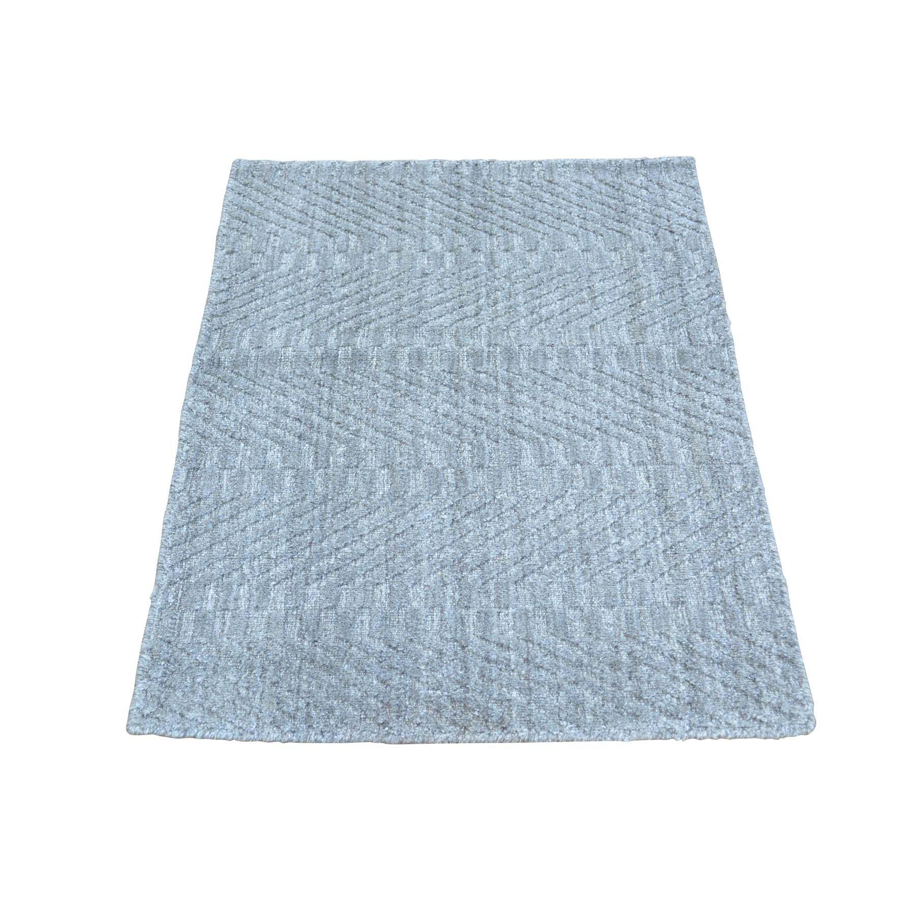 2'X3' Grey Tone On Tone Hand Loomed Wool And Silk Rug moab99da