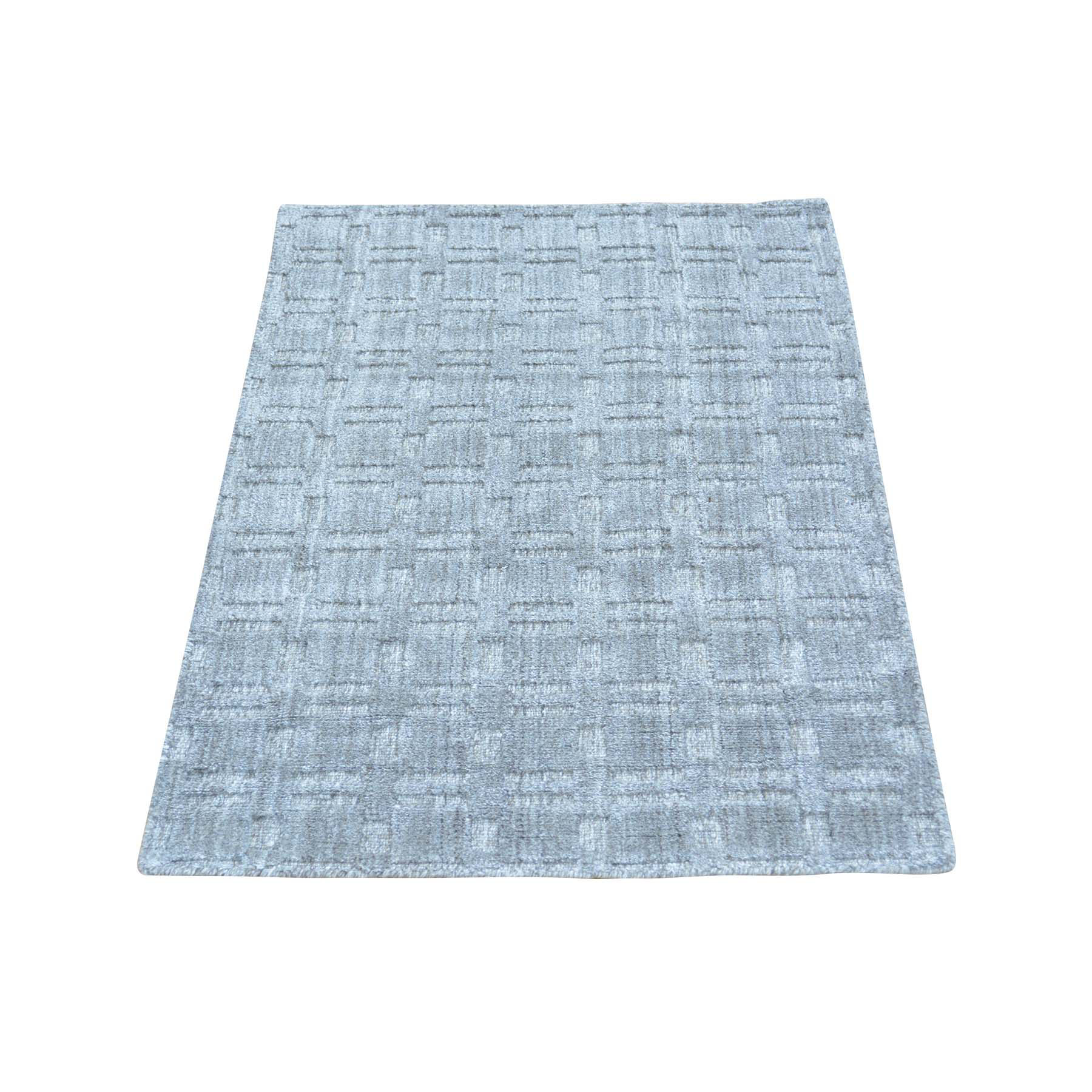 2'X3' Grey Tone On Tone Hand Loomed Wool And Silk Rug moab99dc