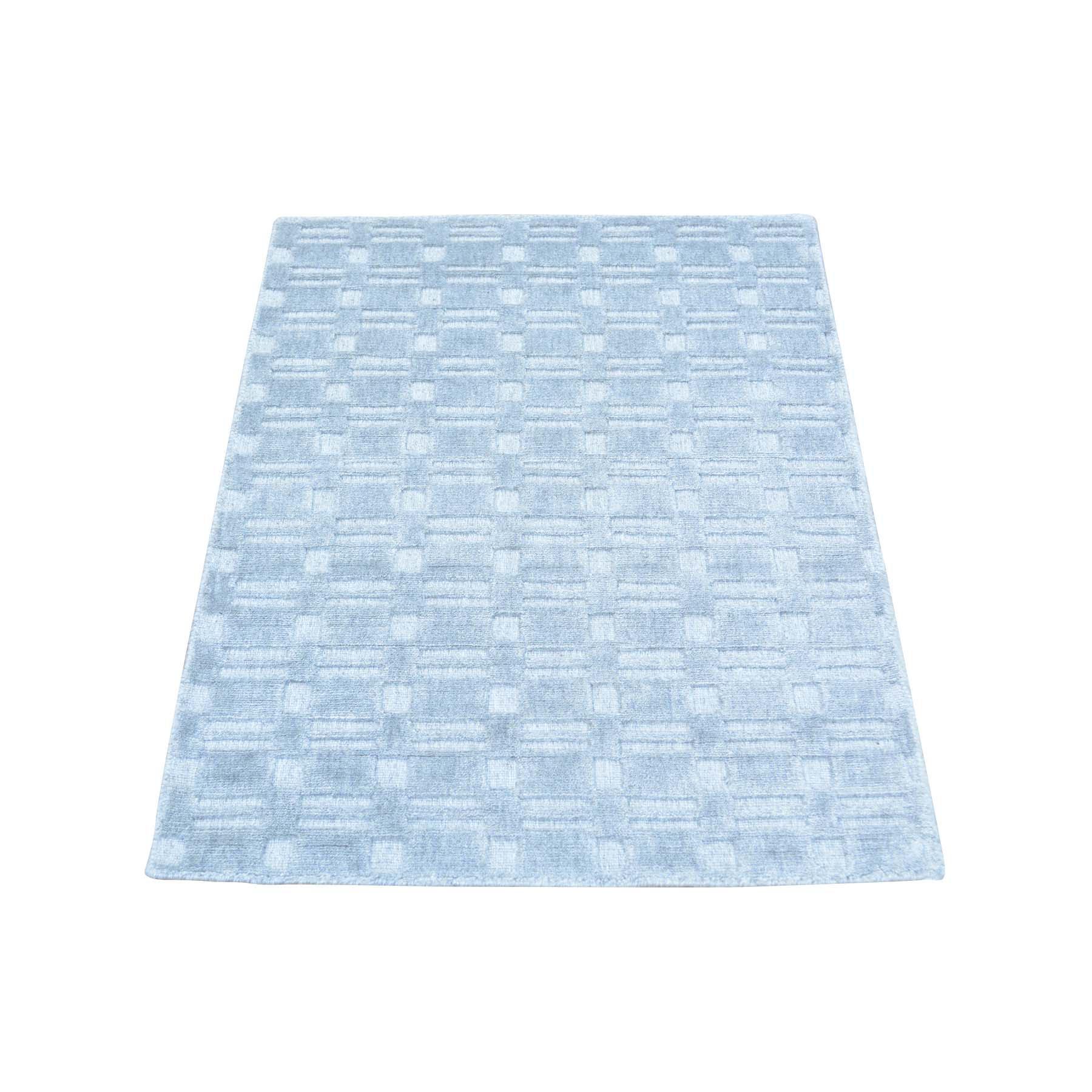 2'X3' Tone On Tone Grey Wool And Silk Hand Loomed Rug moab99e0