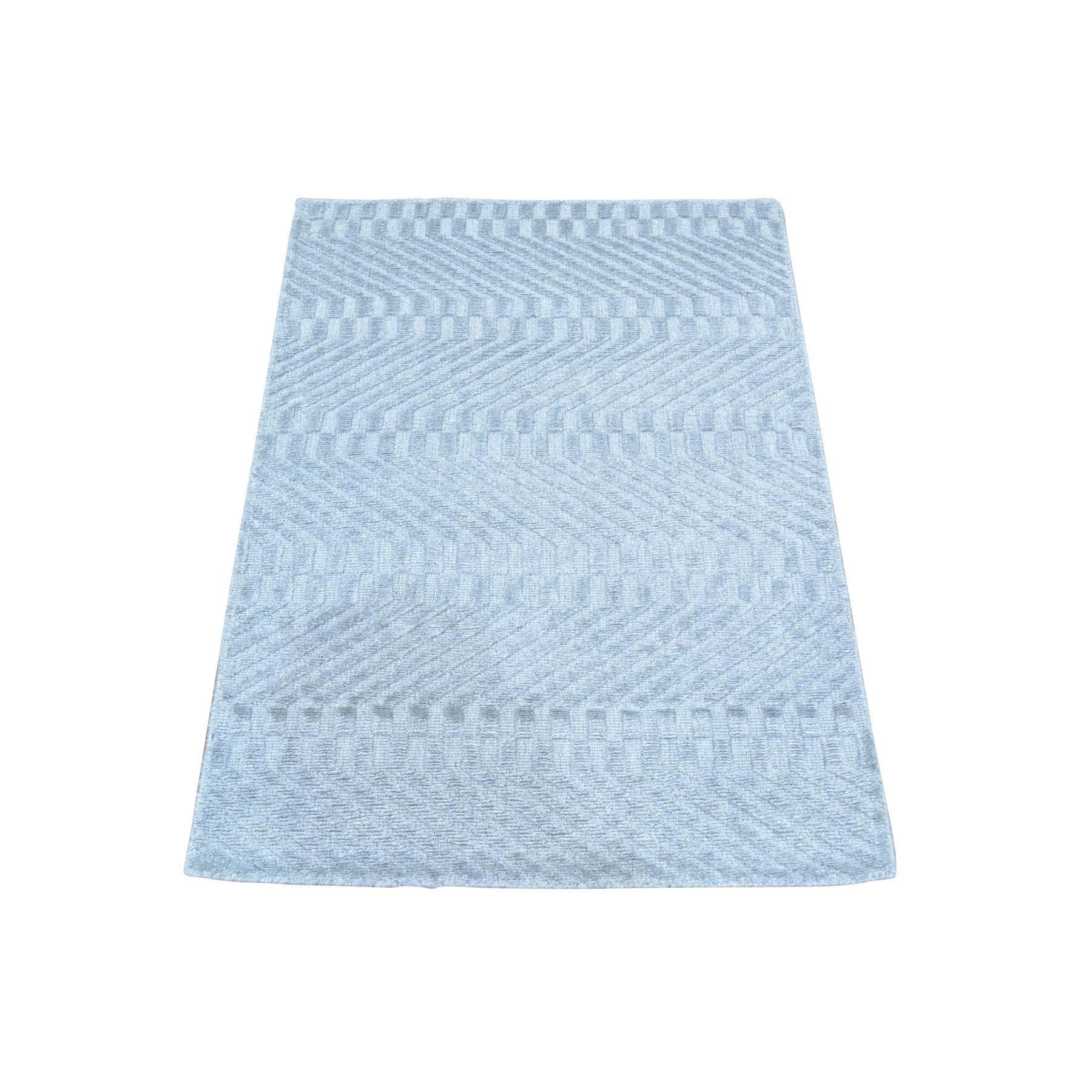 2'X3' Tone On Tone Grey Hand Loomed Wool And Silk Rug moab99ea