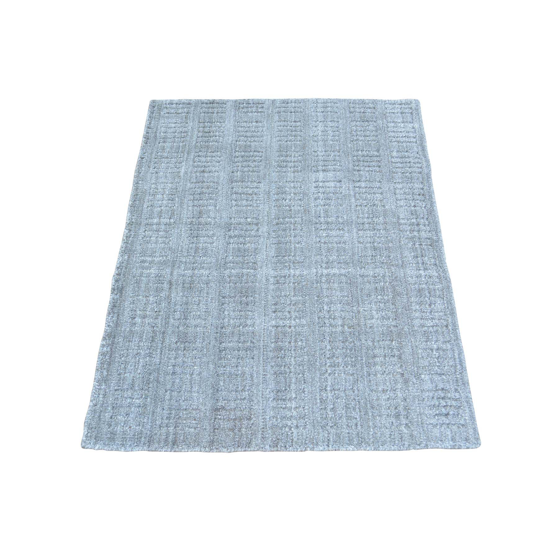2'X3' Tone On Tone Hand Loomed Grey Wool And Silk Rug moab99e6