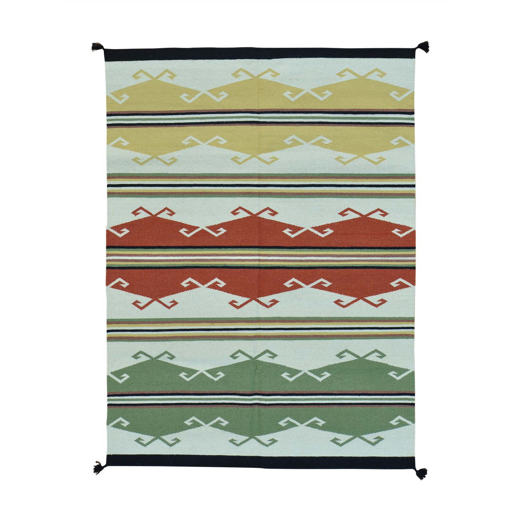 "5'2""X7' Hand Woven Flat Weave Navajo Design Pure Wool Rug moab997e"