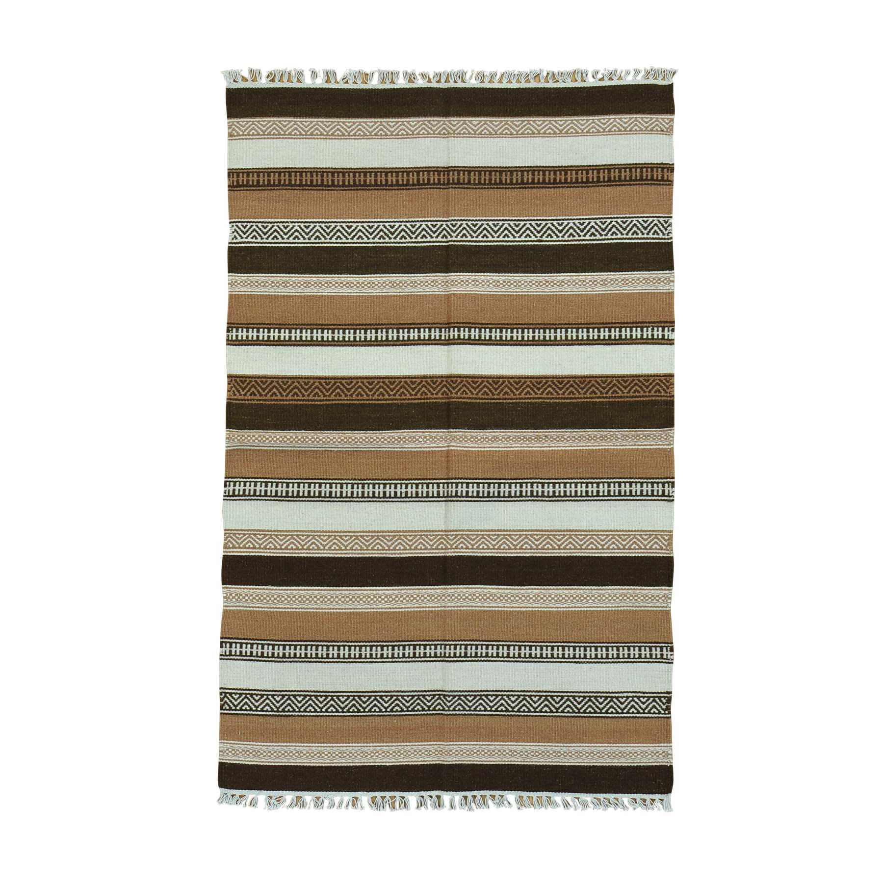 "3'10""X6'2"" Striped Pure Wool Hand Woven Reversible Flat Weave Kilim Rug moac0008"