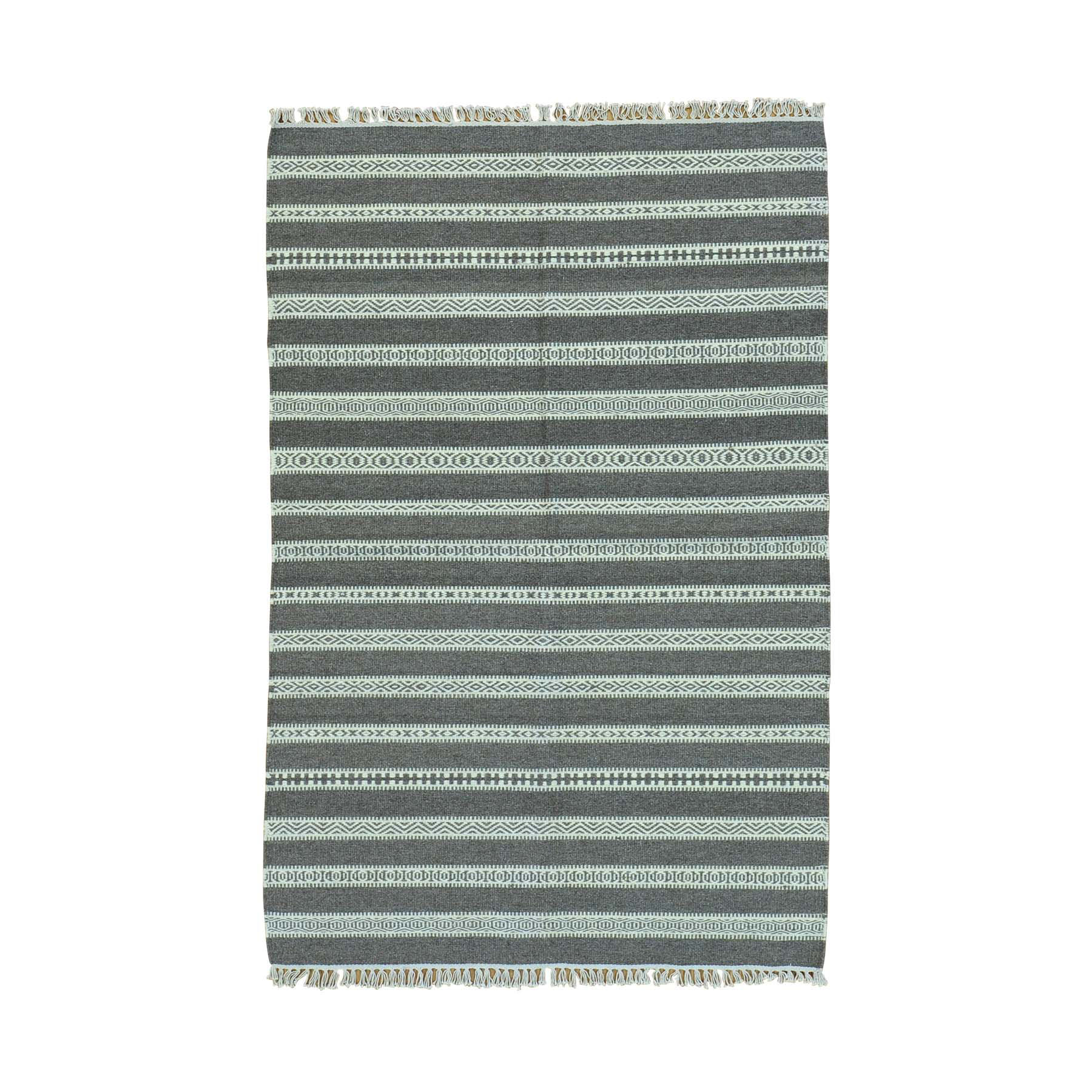 4'X6' Reversible Flat Weave Kilim Pure Wool Striped Hand Woven Rug moac0009