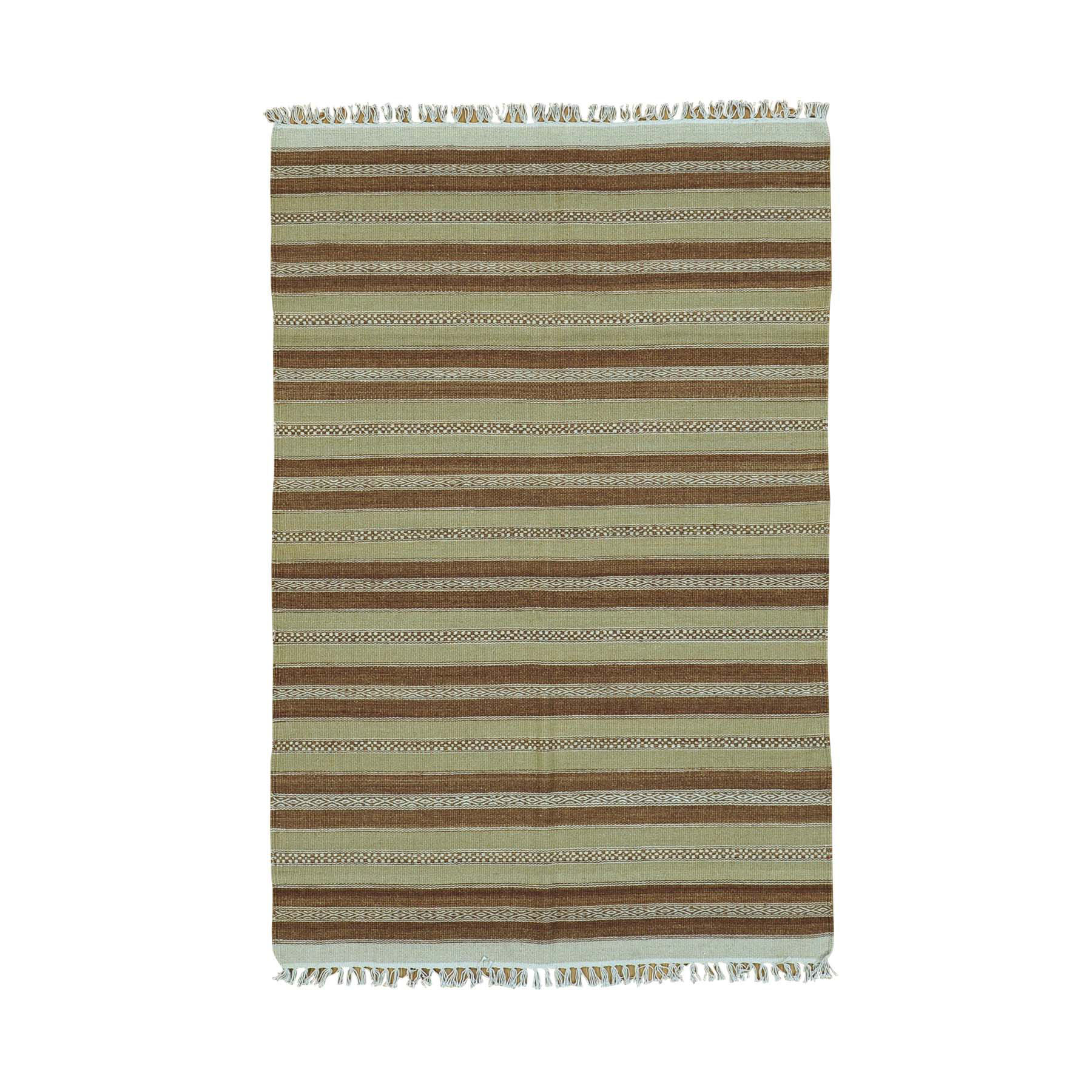 "3'10""X5'10"" Reversible Flat Weave Durie Kilim Pure Wool Hand Woven Rug moac00a0"