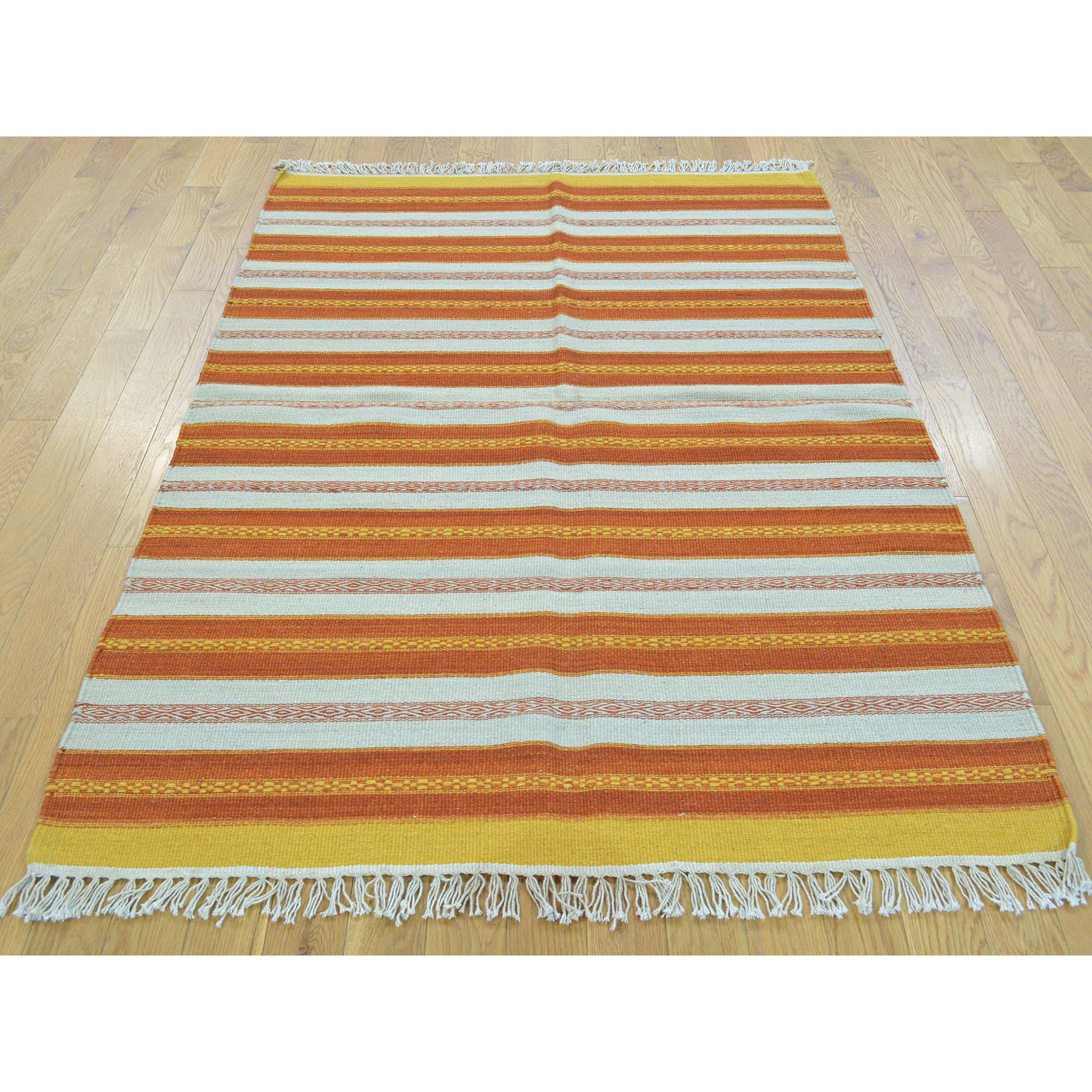 3-10 x5-10  Flat Weave Reversible Hand Woven Durie Kilim Pure Wool Rug