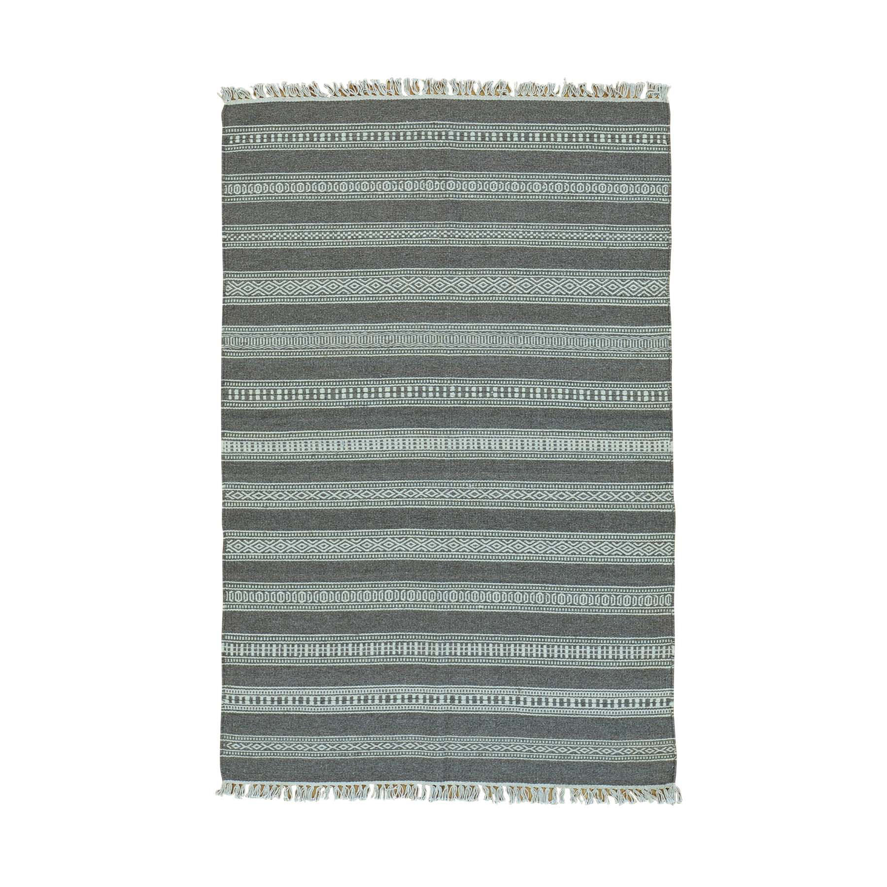"""3'10""""X5'10"""" Flat Weave Striped Durie Kilim Pure Wool Hand Woven Rug moac00ad"""