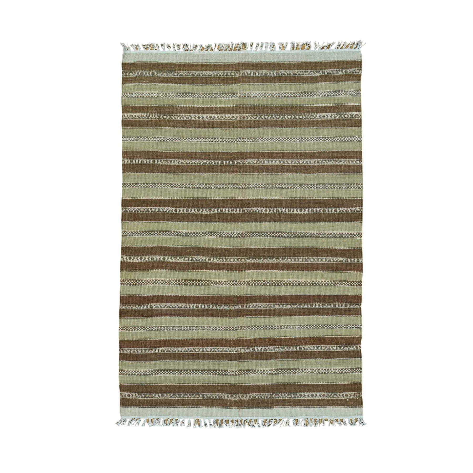 "3'10""X5'10"" Hand Woven Durie Kilim Flat Weave Striped Oriental Rug moac00ae"