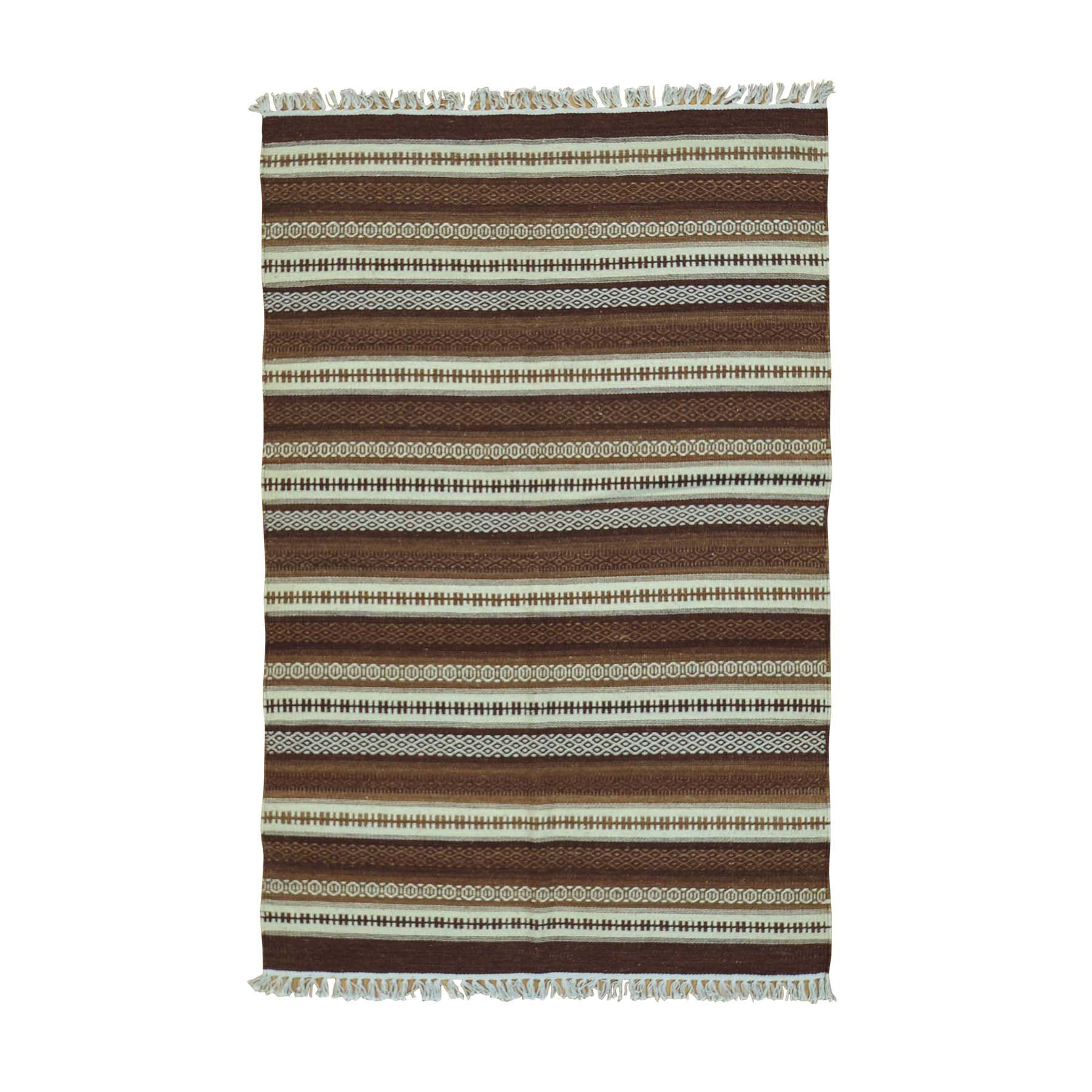 4'X6' Striped Shades Of Brown Kilim Pure Wool Hand Woven Rug moac00a6