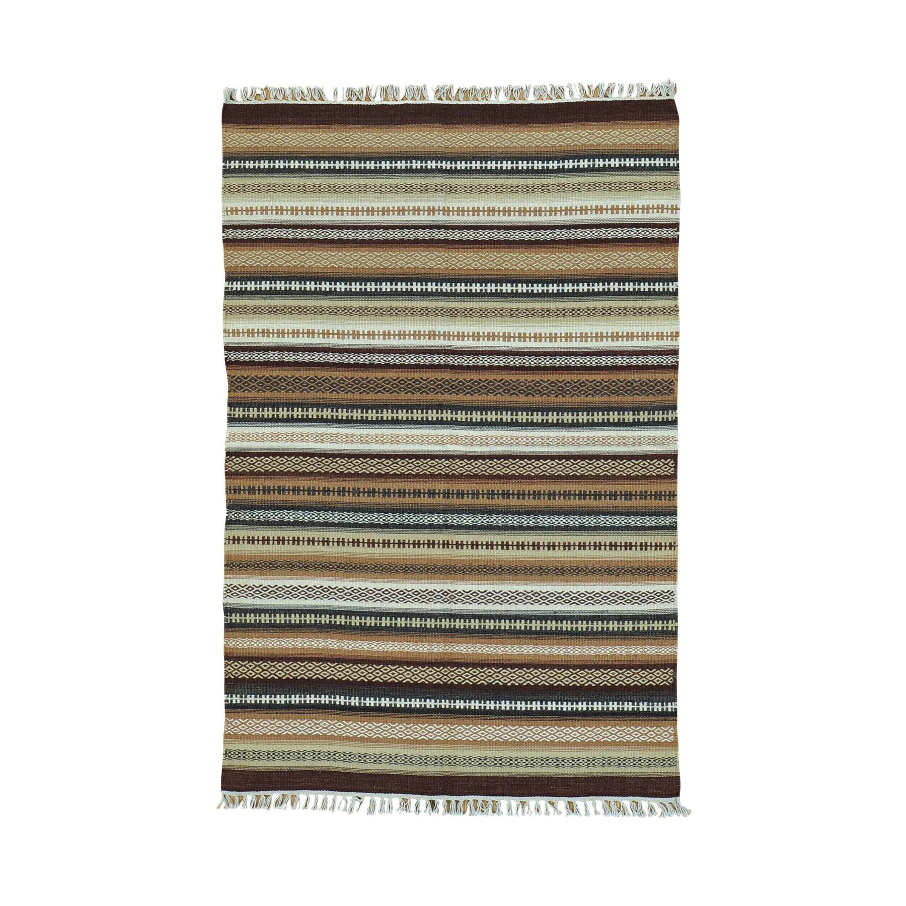 "3'10""X6' Reversible Flat Weave Pure Wool Colorful Durie Kilim Rug moac00b0"