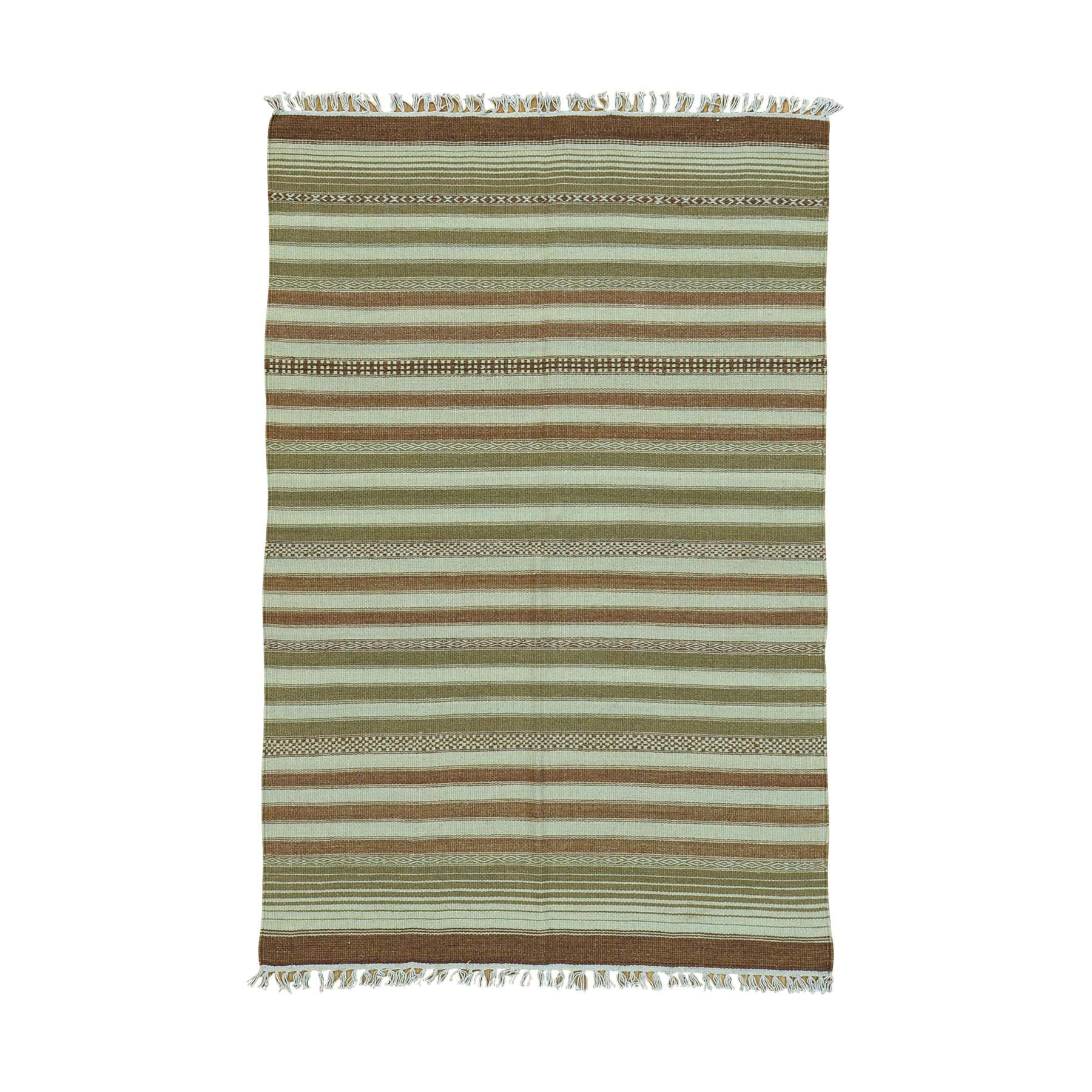 4'X6' Reversible Flat Weave Pure Wool Striped Durie Kilim Oriental Rug moac00ba