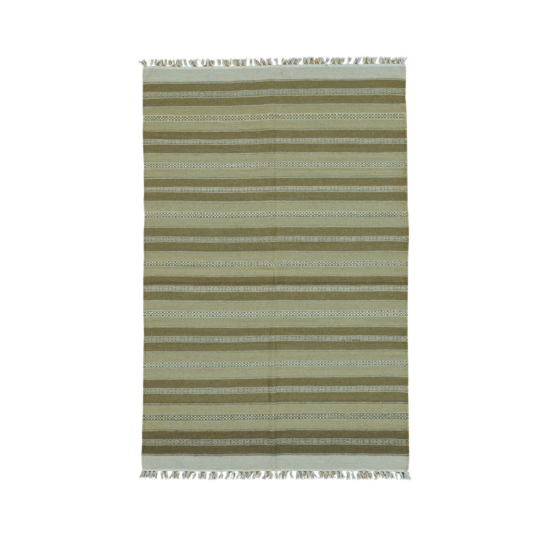 "3'10""X6' Pure Wool Reversible Flat Weave Striped Durie Kilim Rug moac00bb"