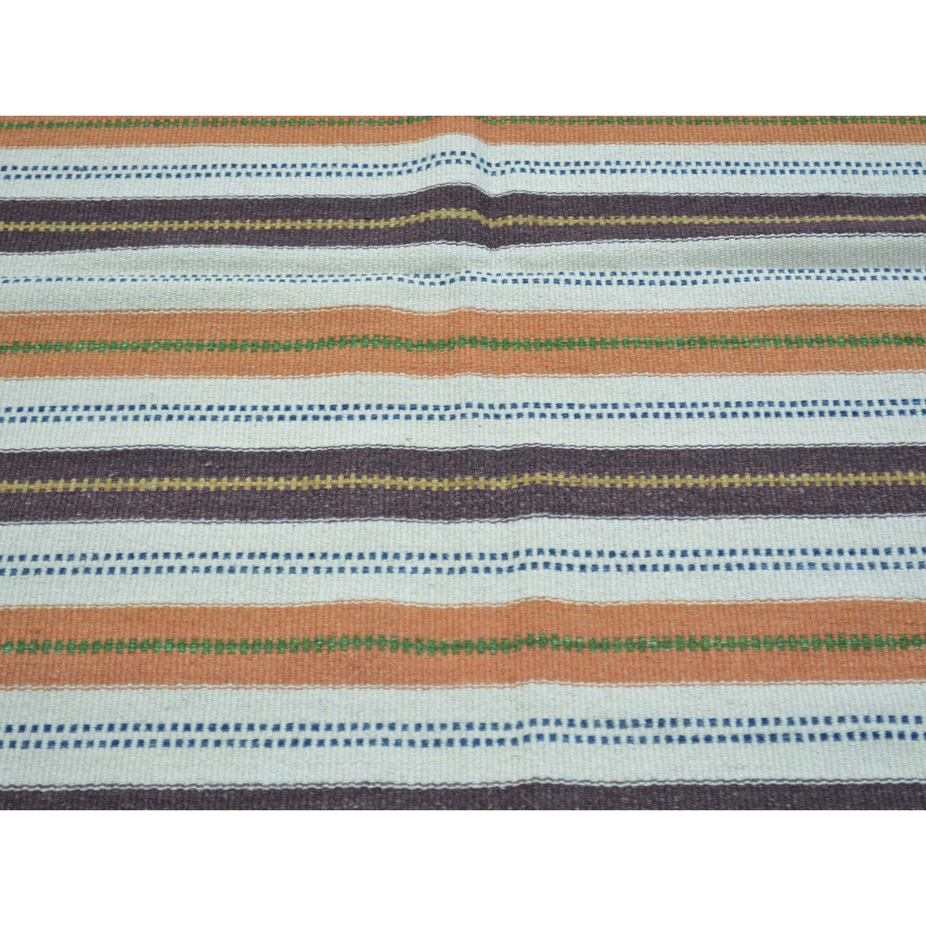 4-x5-10  Flat Weave Hand Woven Striped Durie Kilim Pure Wool Rug