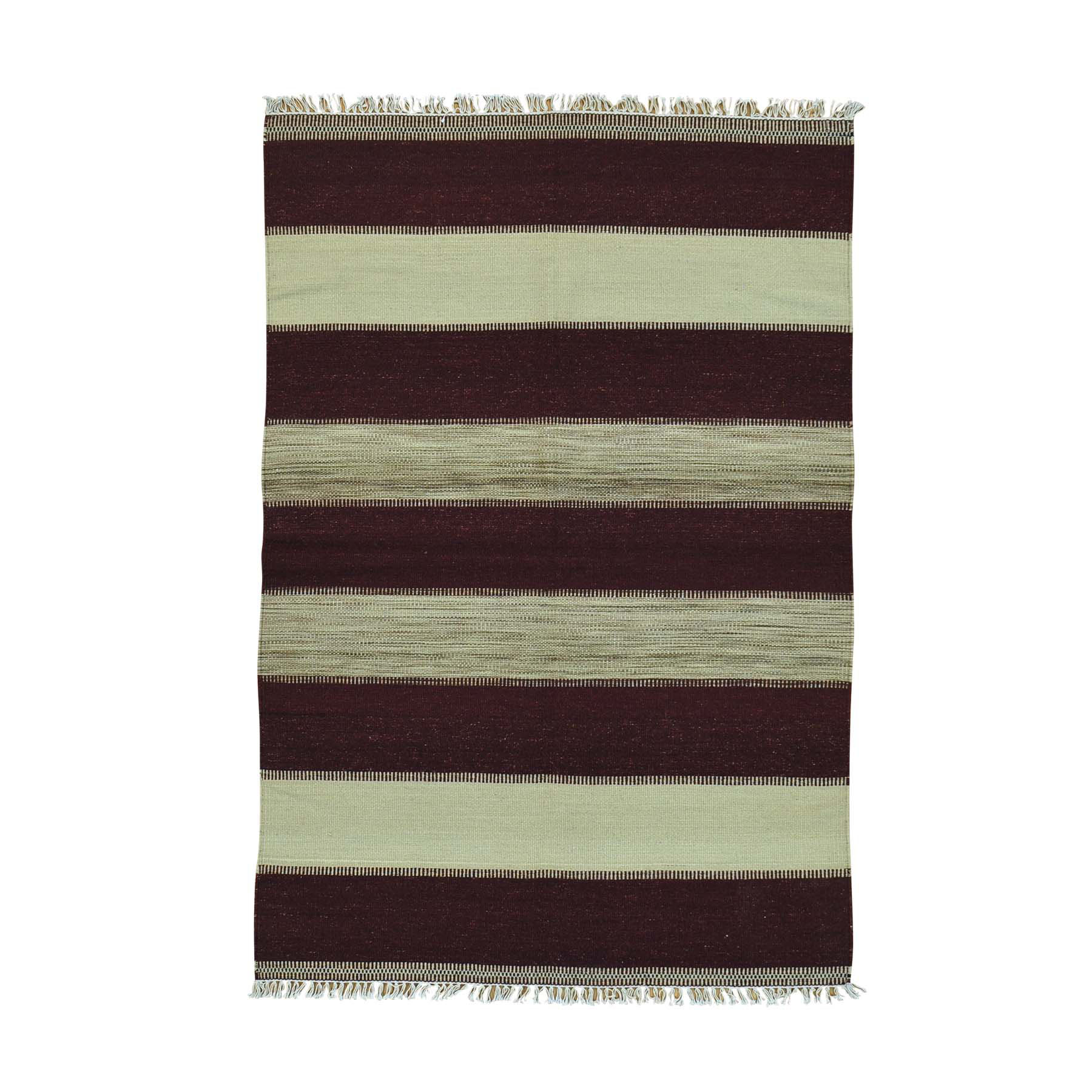 4'X6' Pure Wool Flat Weave Striped Durie Kilim Hand Woven Oriental Rug moac00ca