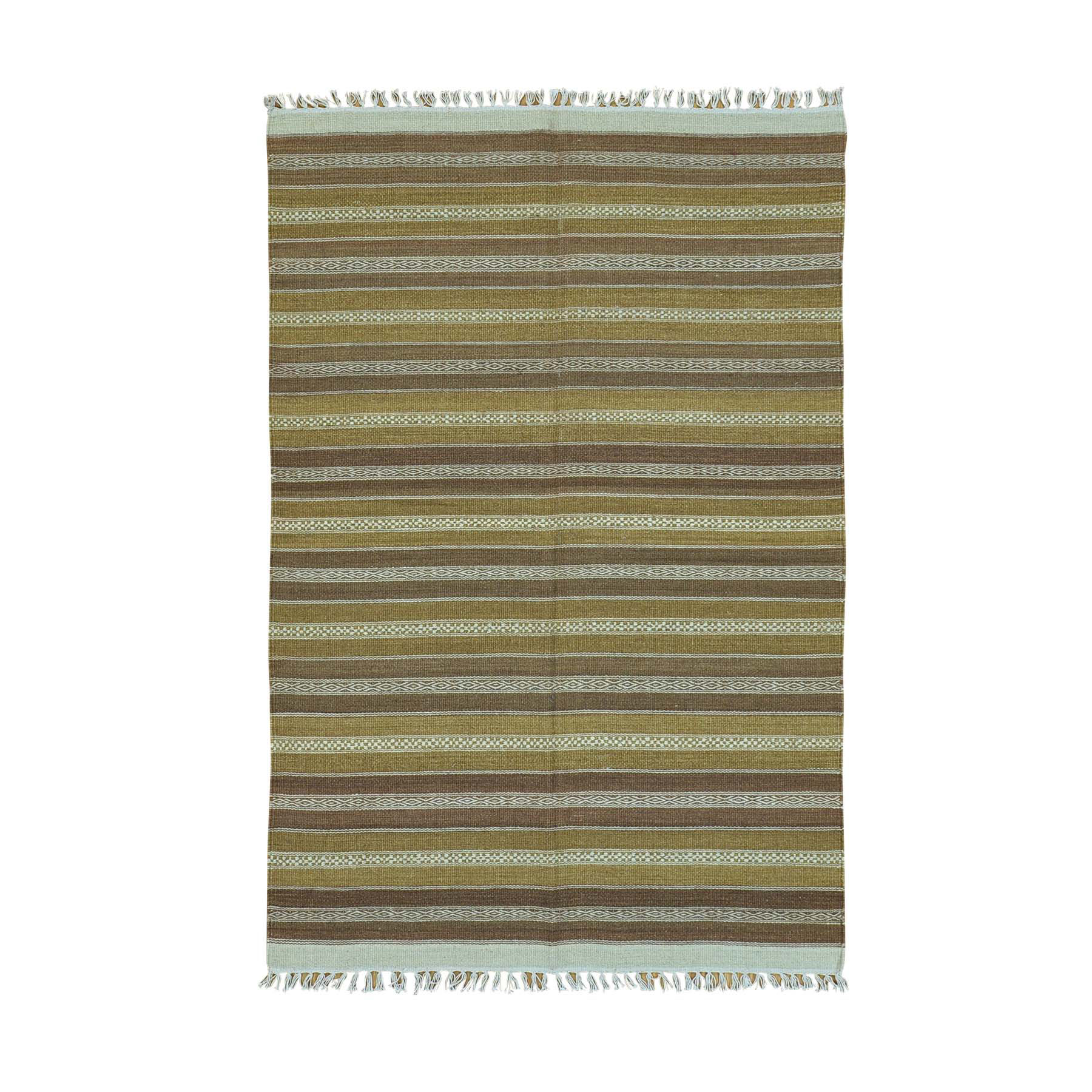"3'10""X5'10"" Striped Durie Kilim Hand Woven Flat Weave Oriental Rug moac00cd"