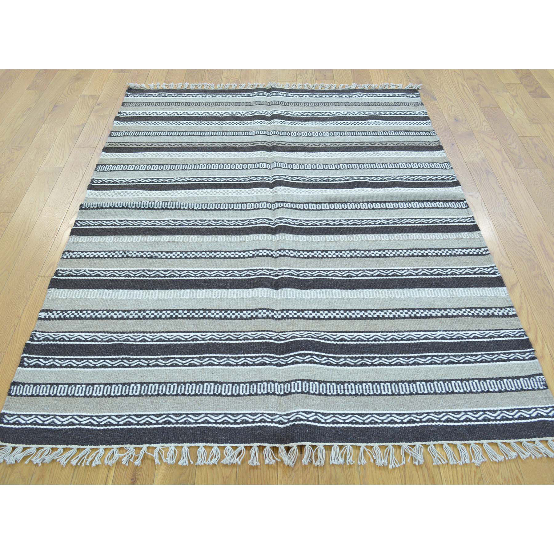 4-x5-10  Flat Weave Reversible Hand Woven Durie Kilim Pure Wool Rug