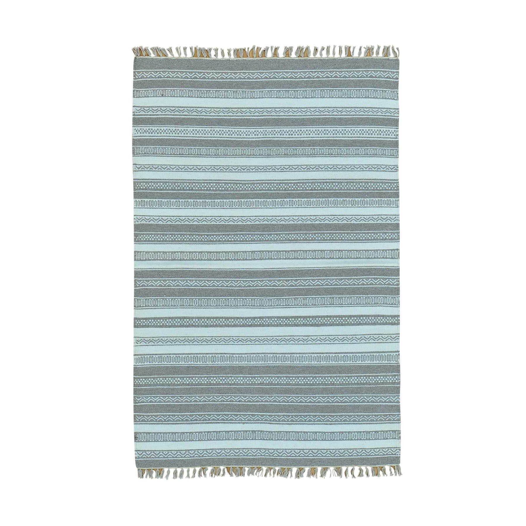 "4'X6'3"" Reversible Striped Flat Weave Kilim Hand Woven Oriental Rug moac00da"