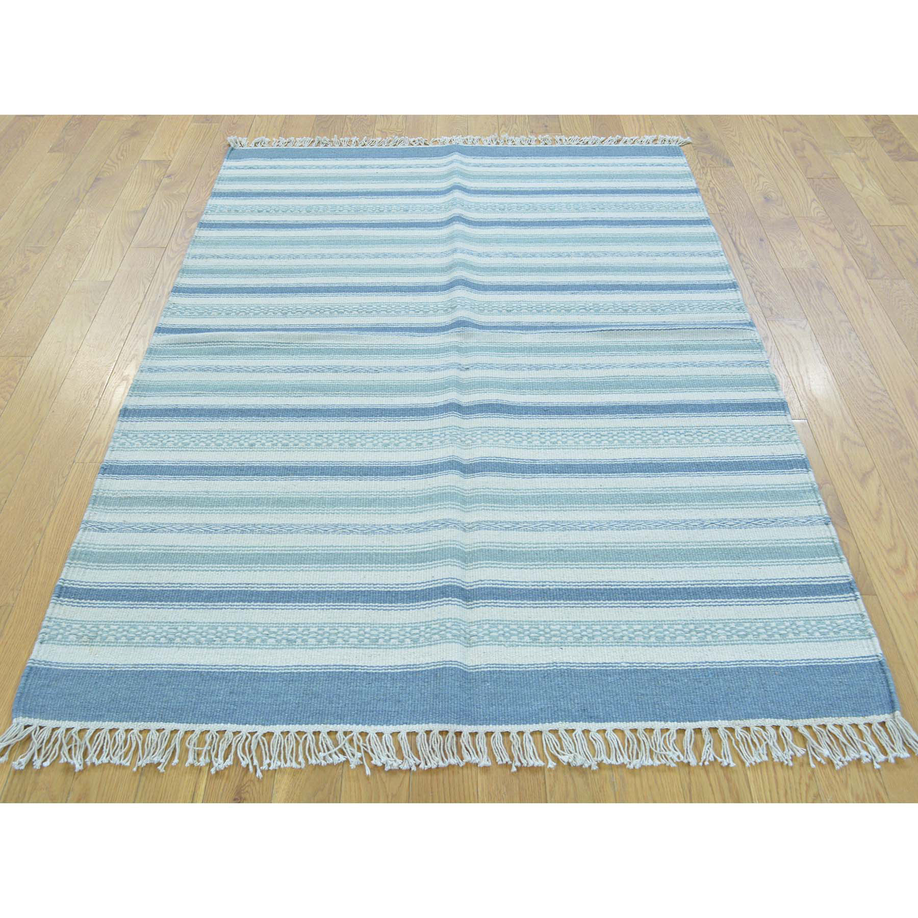 3-10 x5-9  Hand Woven Pure Wool Striped Flat Weave Kilim Oriental Rug