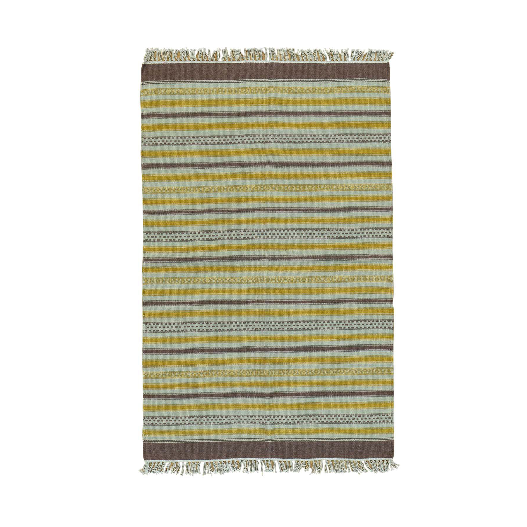 "3'10""X6'1"" Flat Weave Reversible Hand Woven Durie Kilim Striped Rug moac00ed"