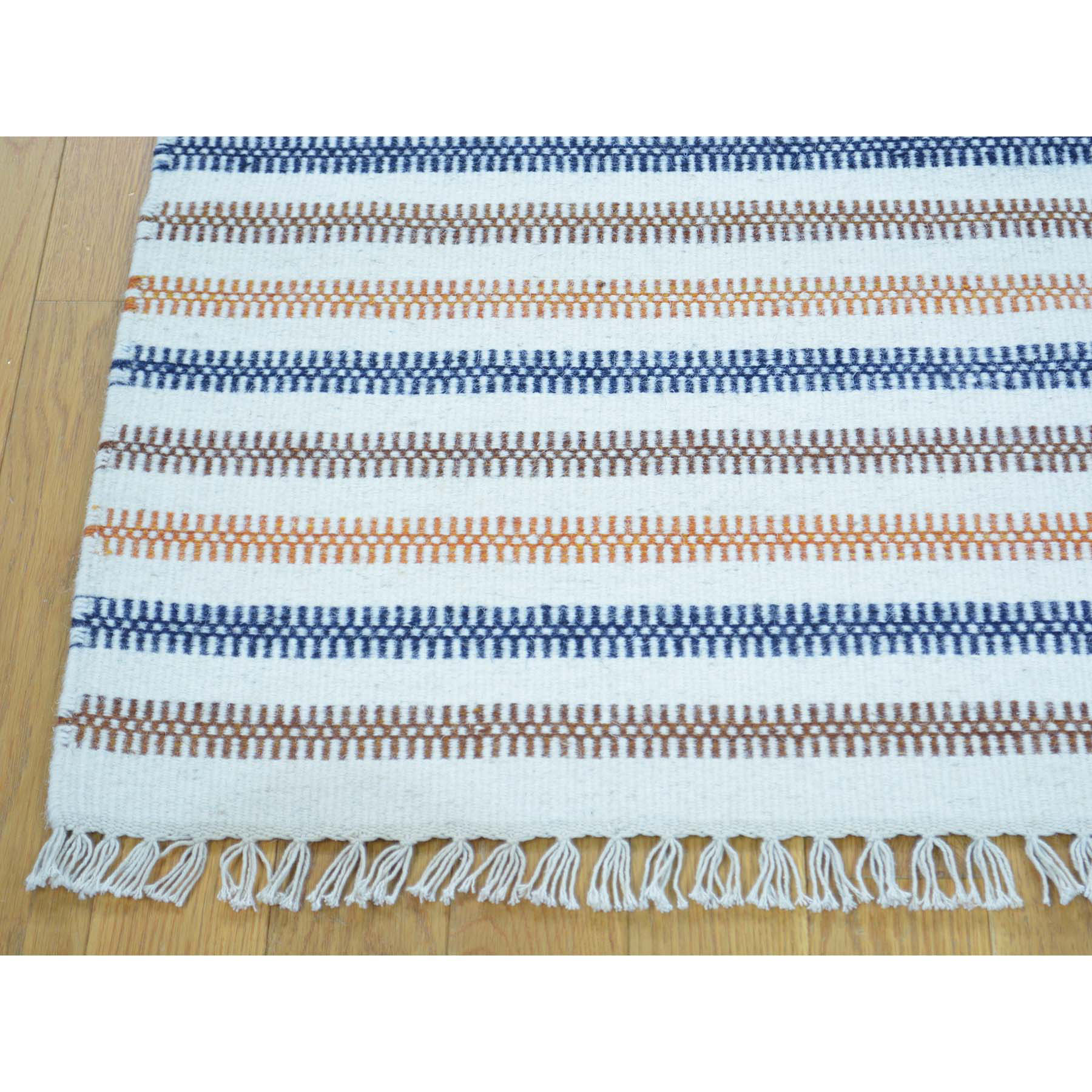 4-7 x6-8  Hand Woven Durie Kilim Striped Flat Weave Oriental Rug
