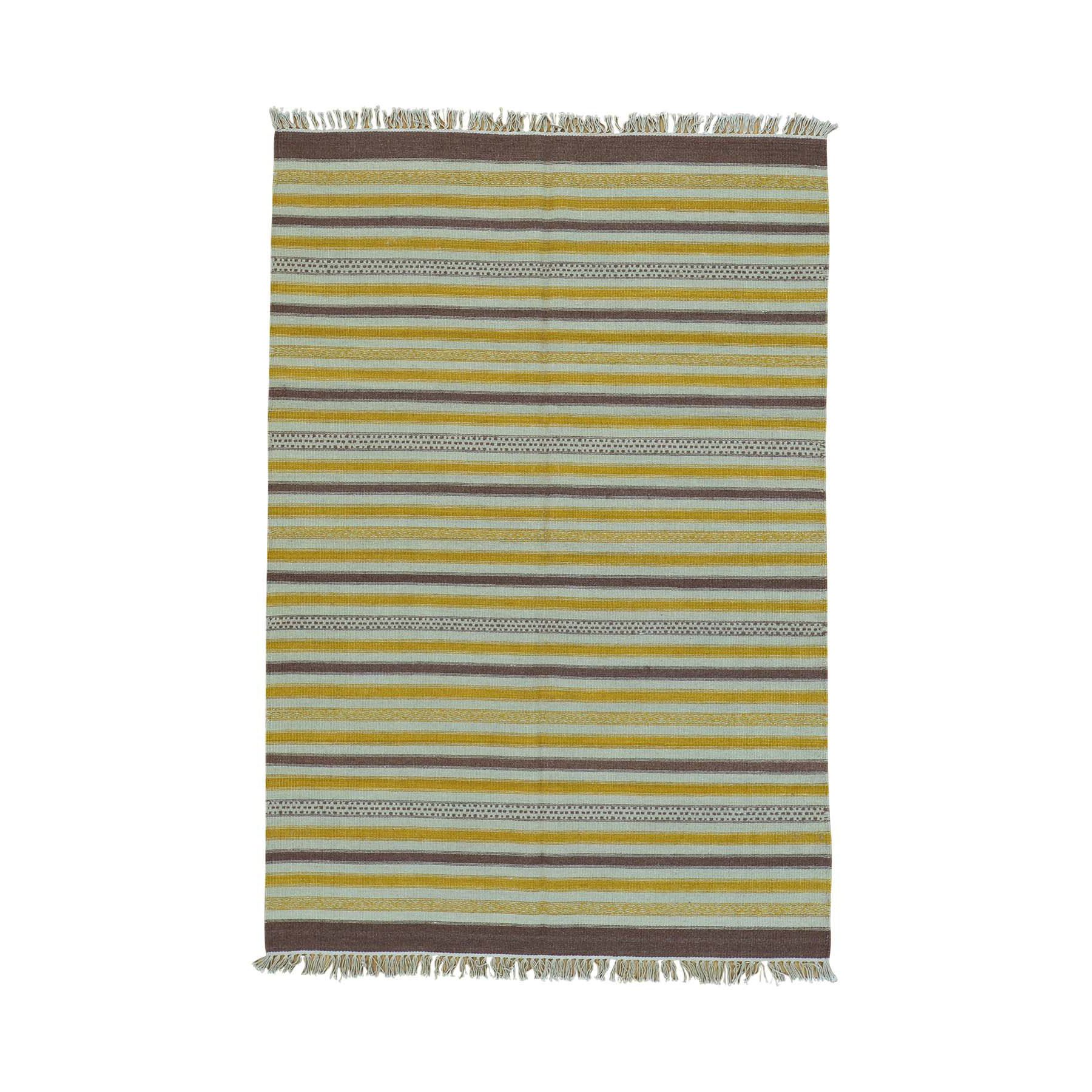 "4'9""X7' Durie Kilim Striped Flat Weave Reversible Pure Wool Oriental Rug moac00e6"