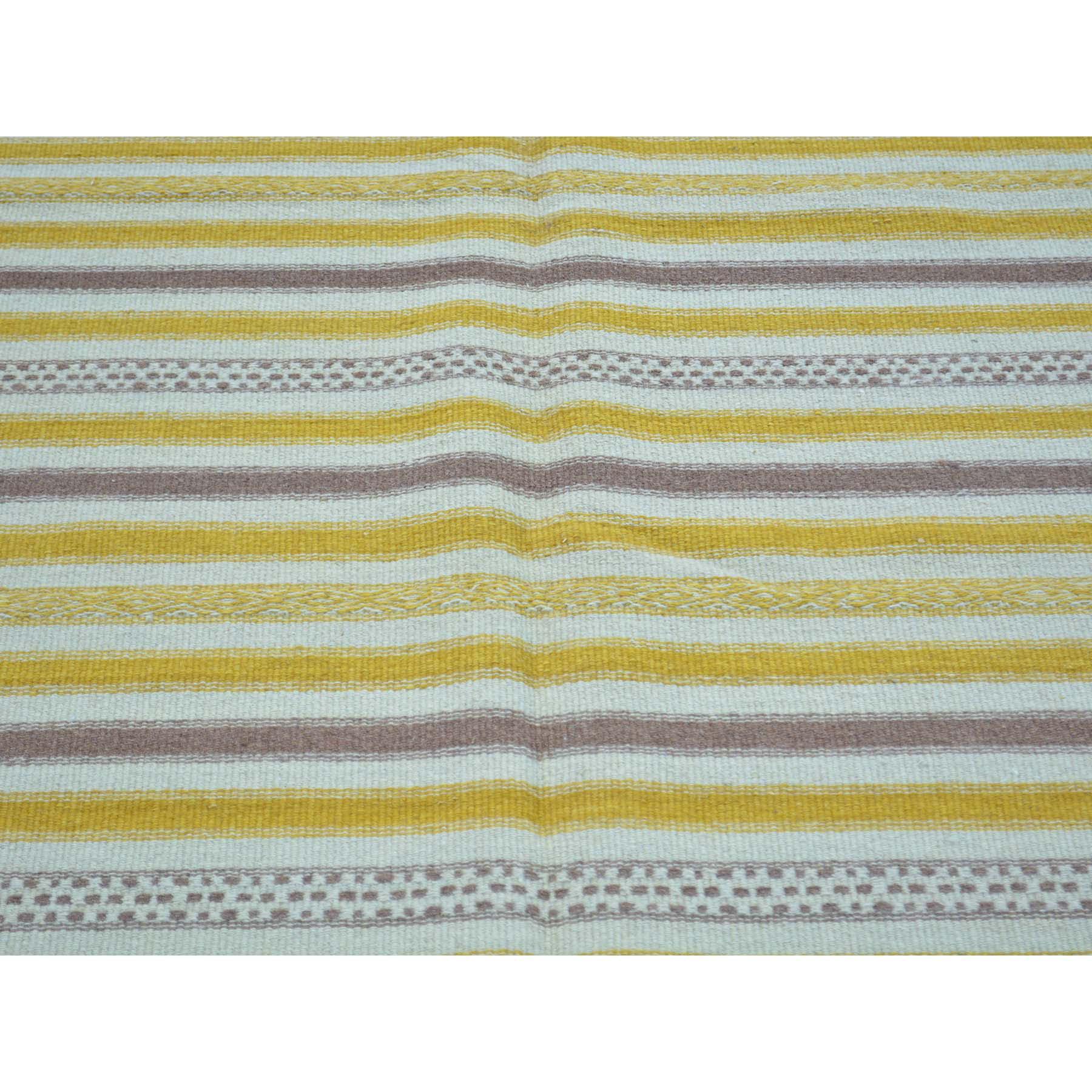 4-9 x7- Durie Kilim Striped Flat Weave Reversible Pure Wool Oriental Rug