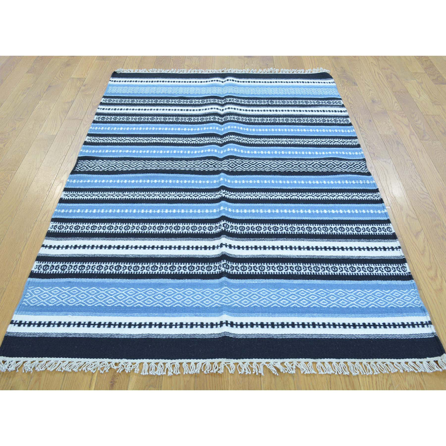 3-10 x6- Flat Weave Hand Woven Durie Kilim Striped Oriental Rug