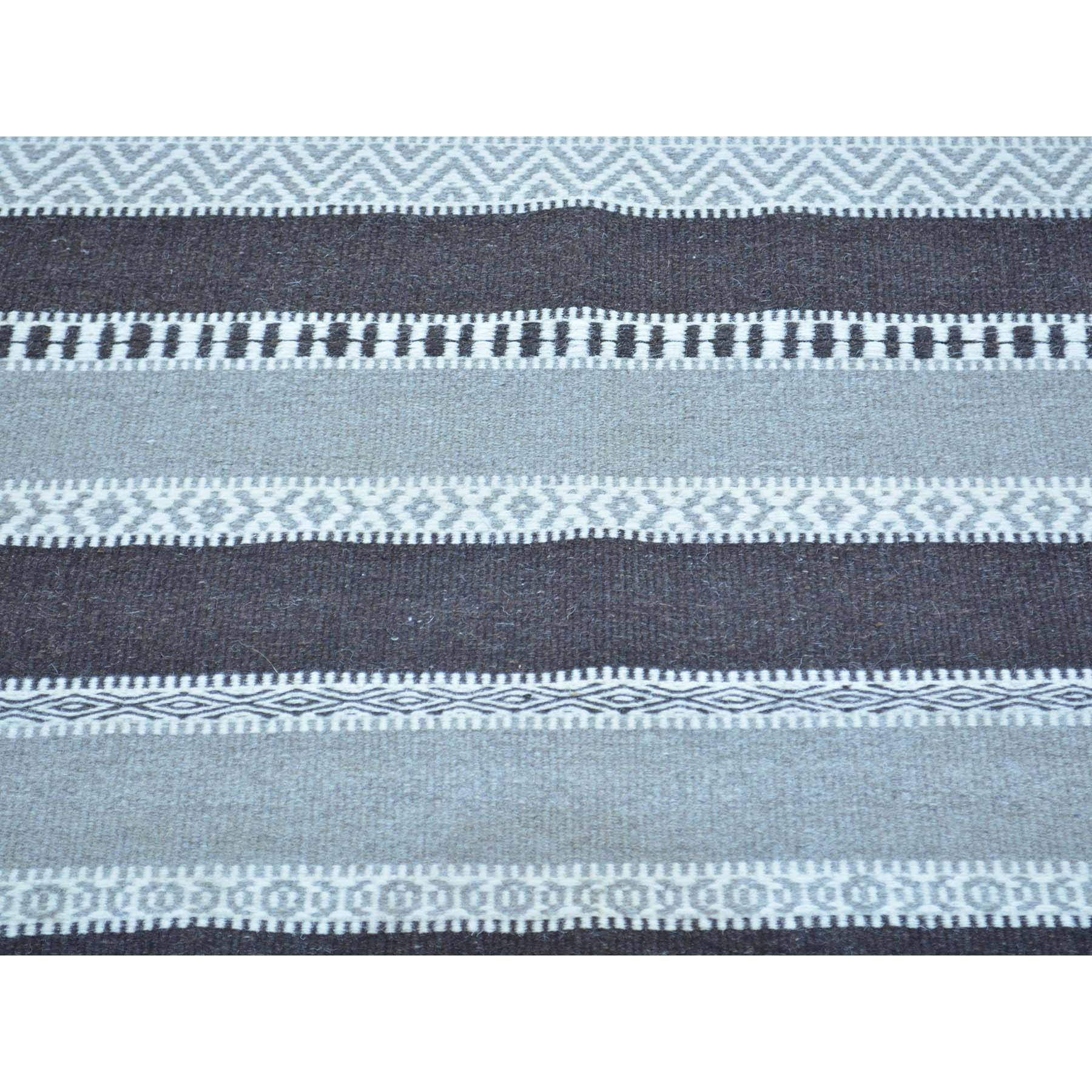4-x6- Durie Kilim Striped Flat Weave Hand Woven Pure Wool Oriental Rug