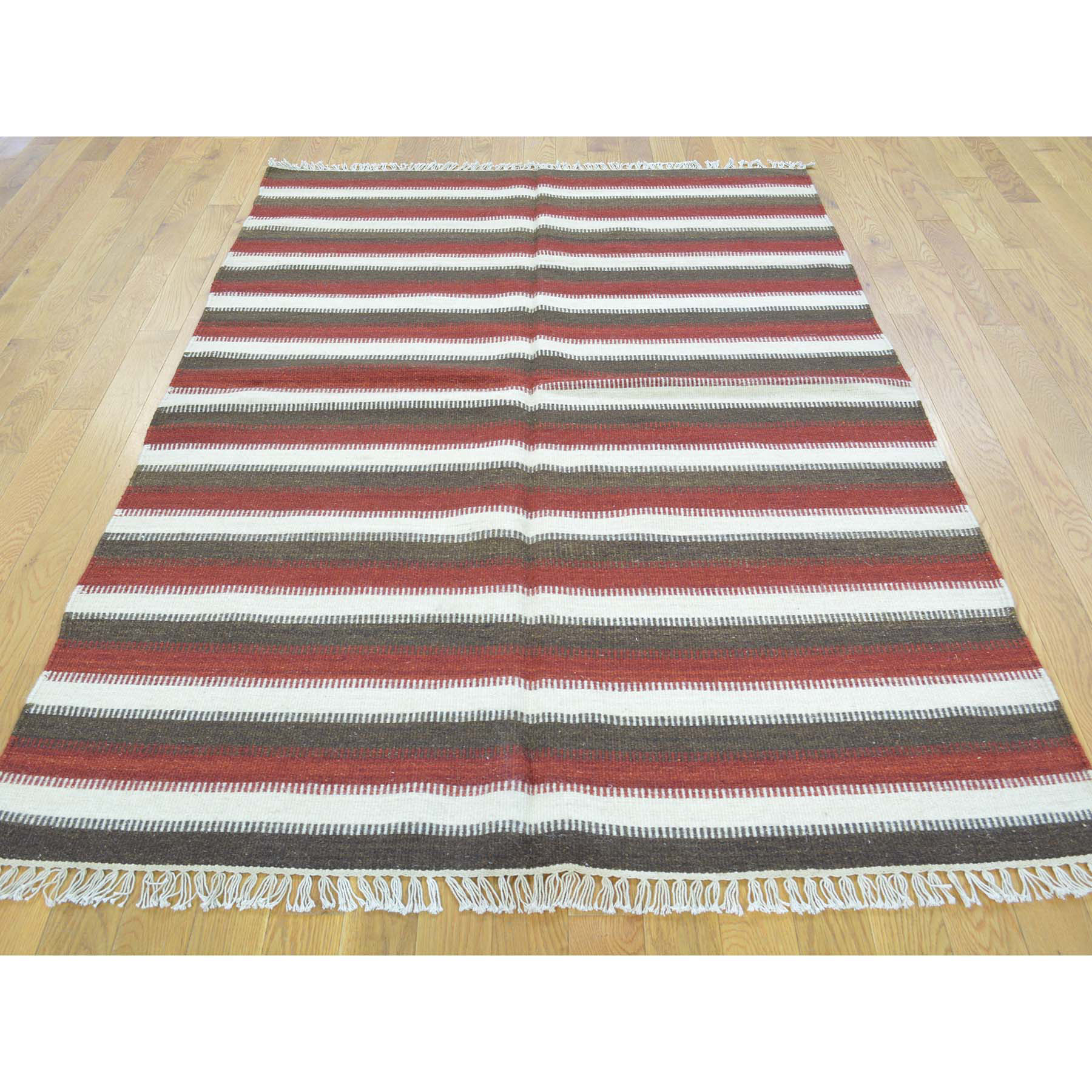 4-6 x6-7  Reversible Striped Durie Kilim Hand Woven Oriental Rug