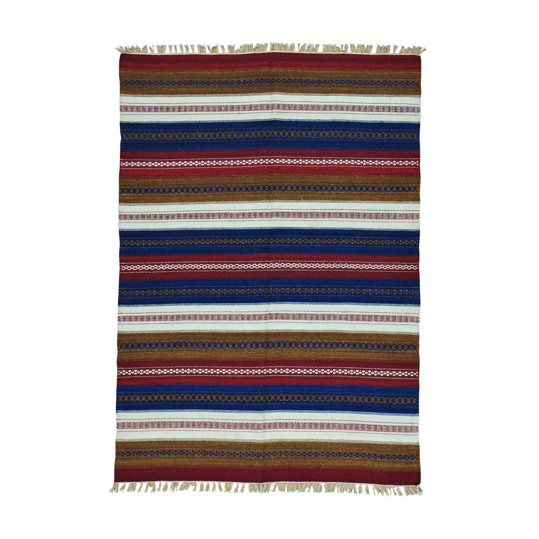 "5'8""X8' Flat Weave Striped Kilim Hand Woven Reversible Oriental Rug moac0080"