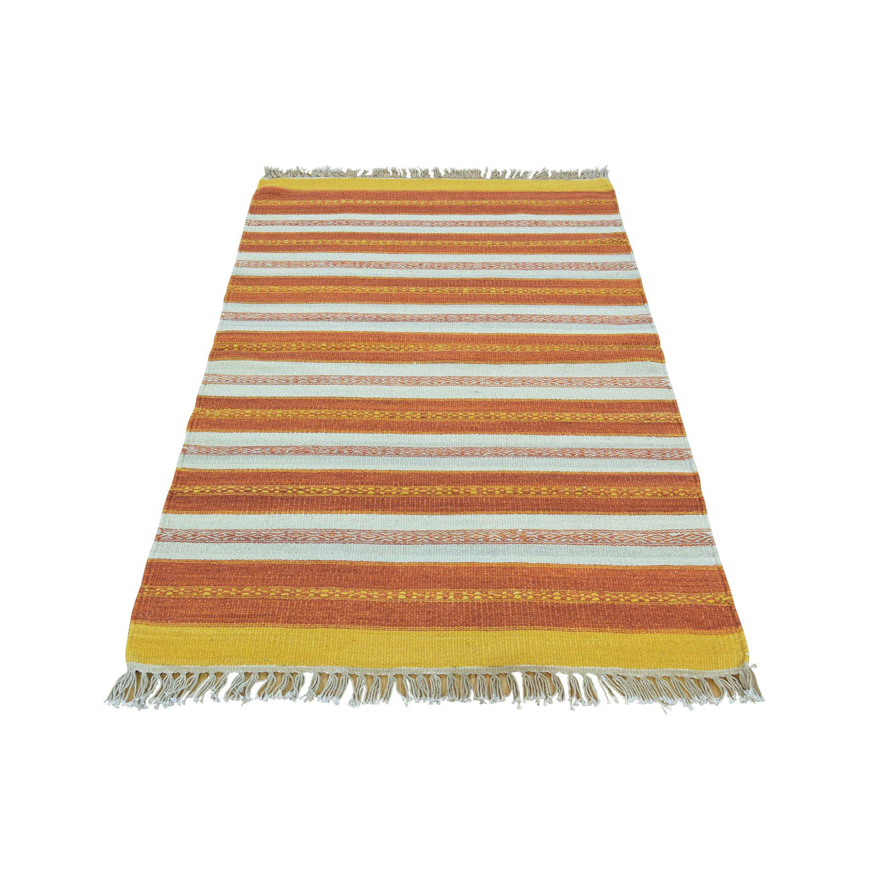 "2'10""X4'9"" Hand Woven Pure Wool Durie Kilim Striped Oriental Rug moac008b"