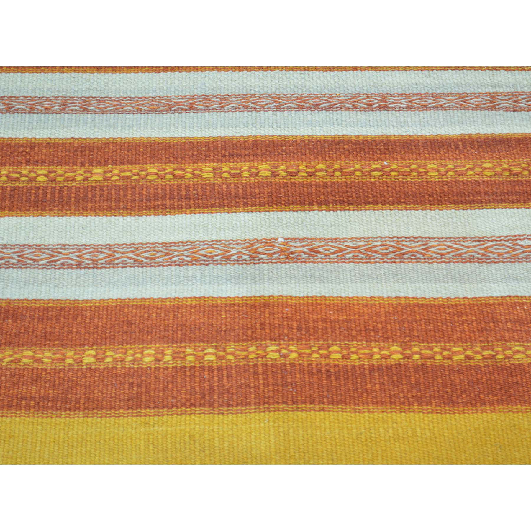 2-10 x4-9  Hand Woven Pure Wool Durie Kilim Striped Oriental Rug