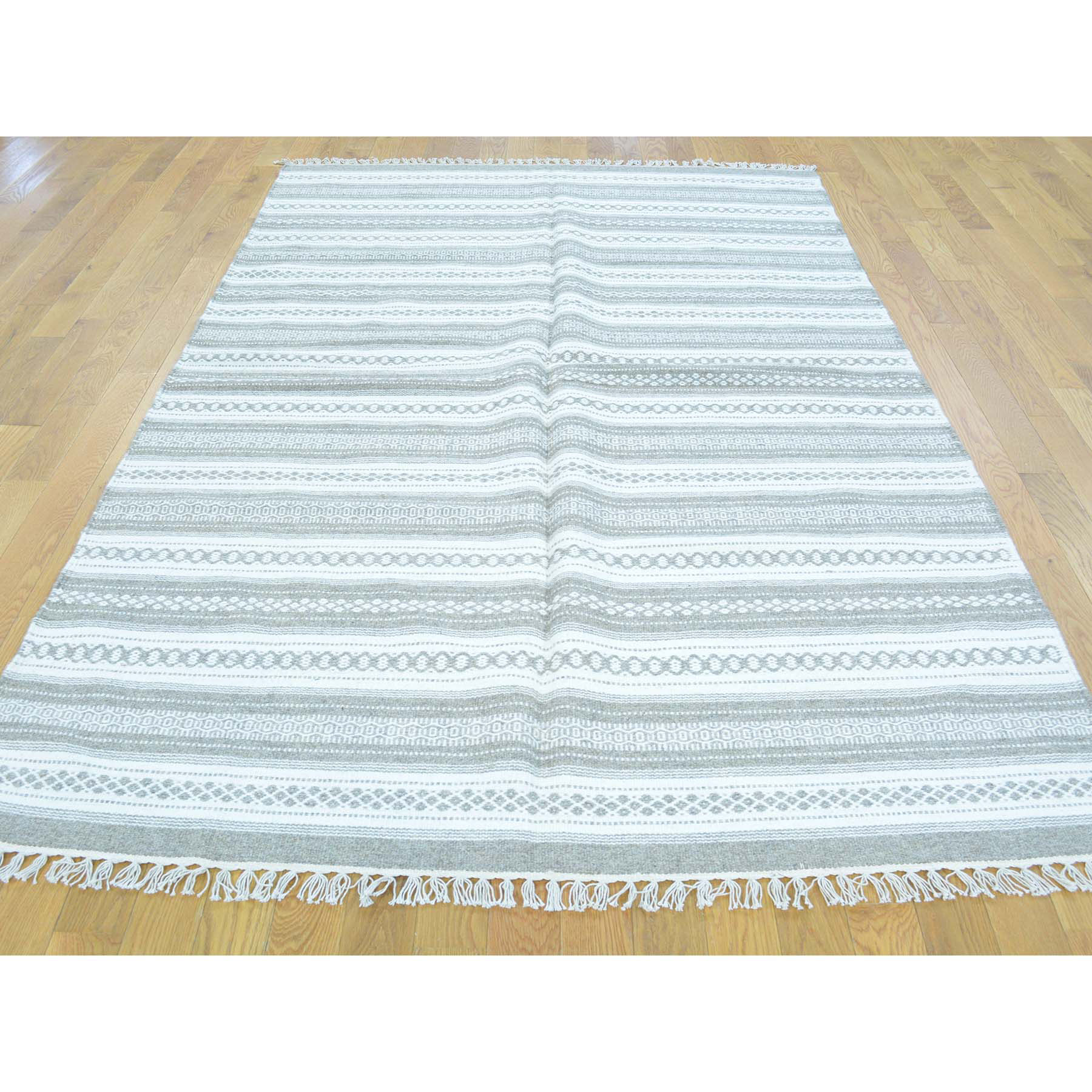 5-2 x8-4  Flat Weave Hand Woven Striped Durie Kilim Pure Wool Rug