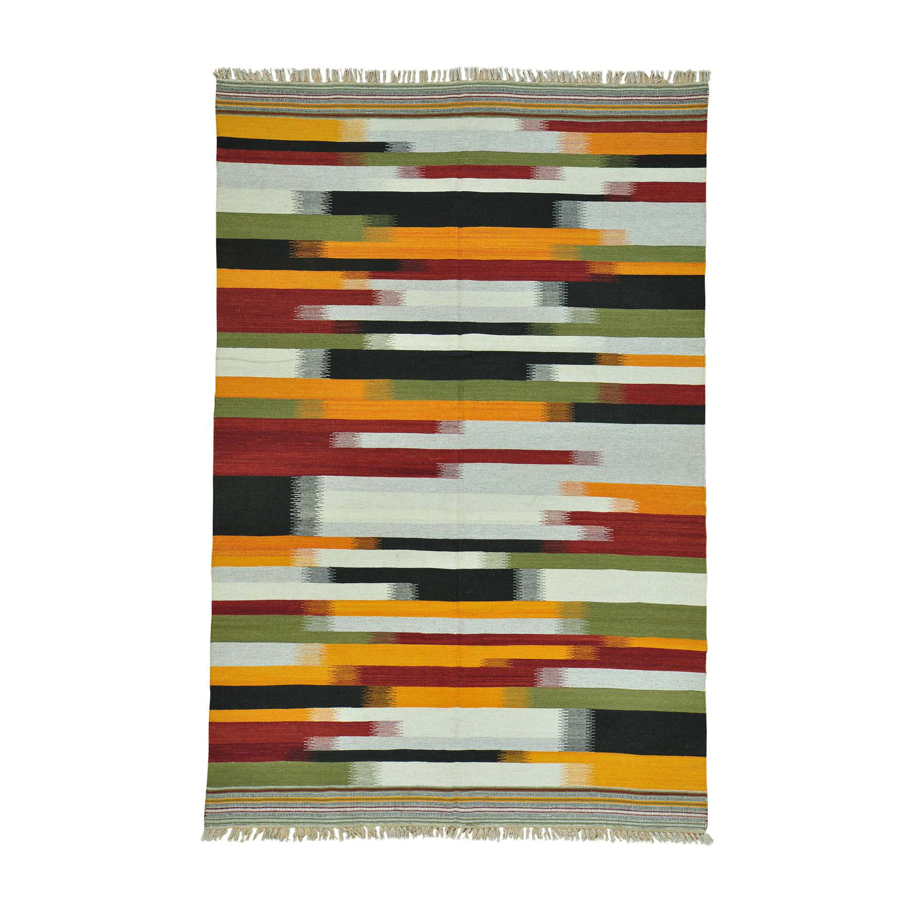 "6'X9'2"" Colorful Durie Kilim Flat Weave Hand Woven Oriental Rug moac0087"