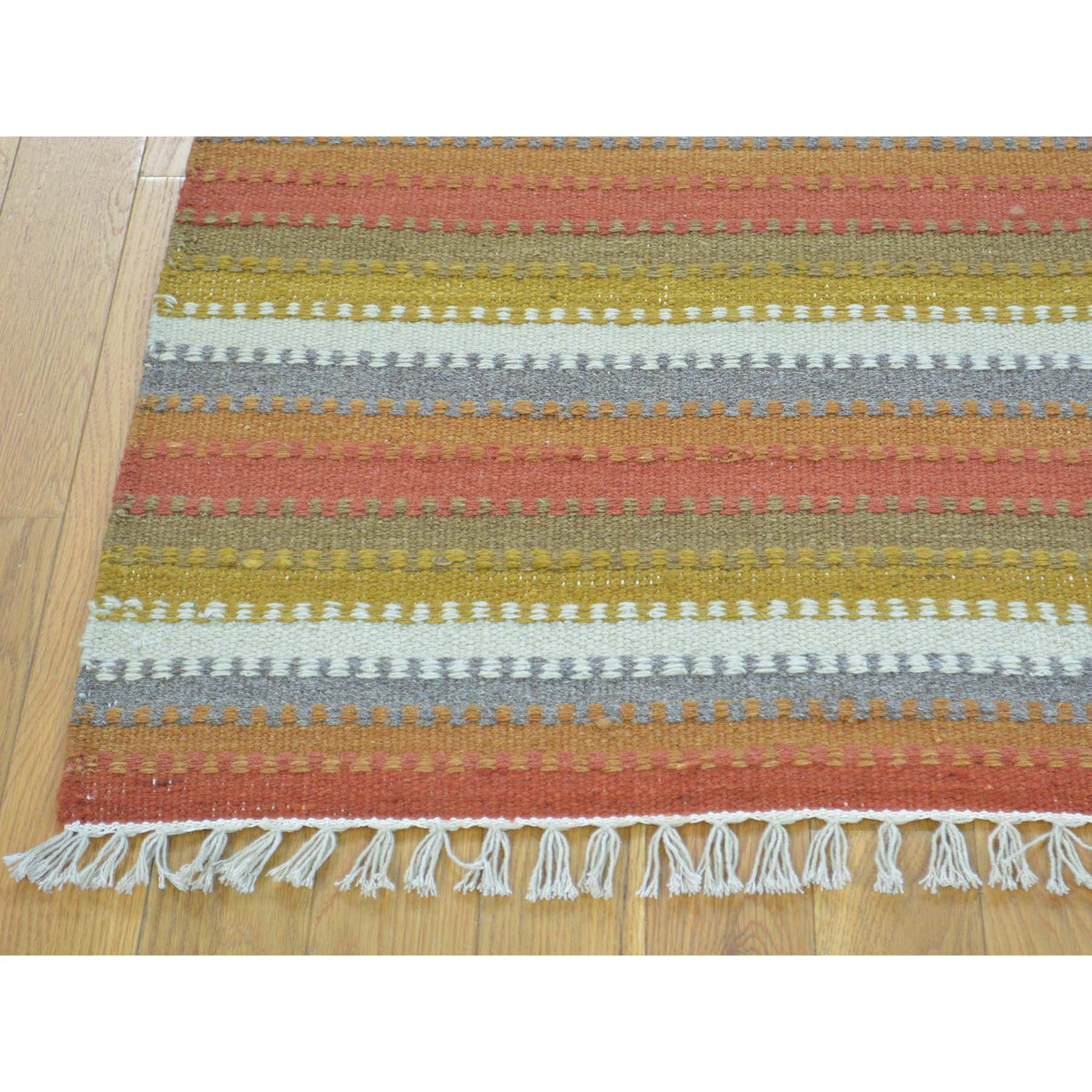 4-x5-10  Colorful Striped Durie Kilim Flat Weave Hand Woven Oriental Rug