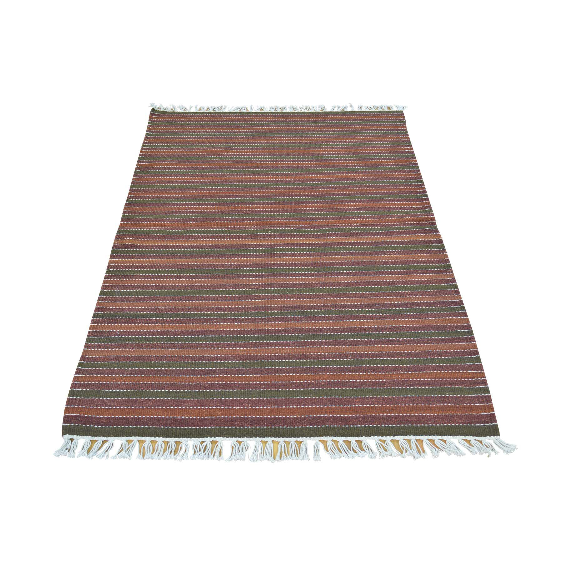 "3'X4'10"" Pure Wool Hand Woven Striped Durie Kilim Flat Weave Rug moac0aac"