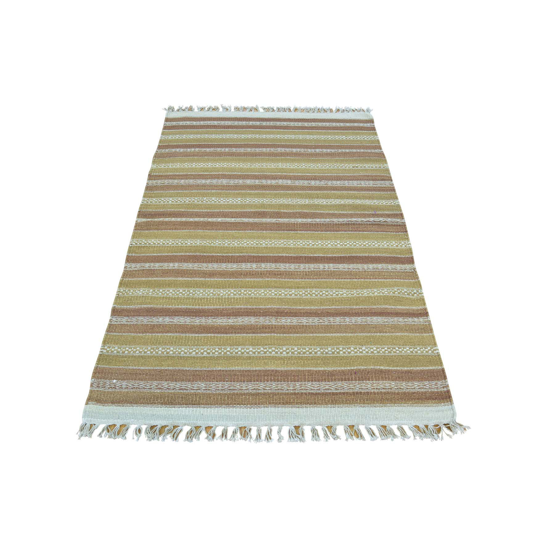 "2'9""X5'1"" Striped Durie Kilim Flat Weave Pure Wool Hand Woven Rug moac0aad"