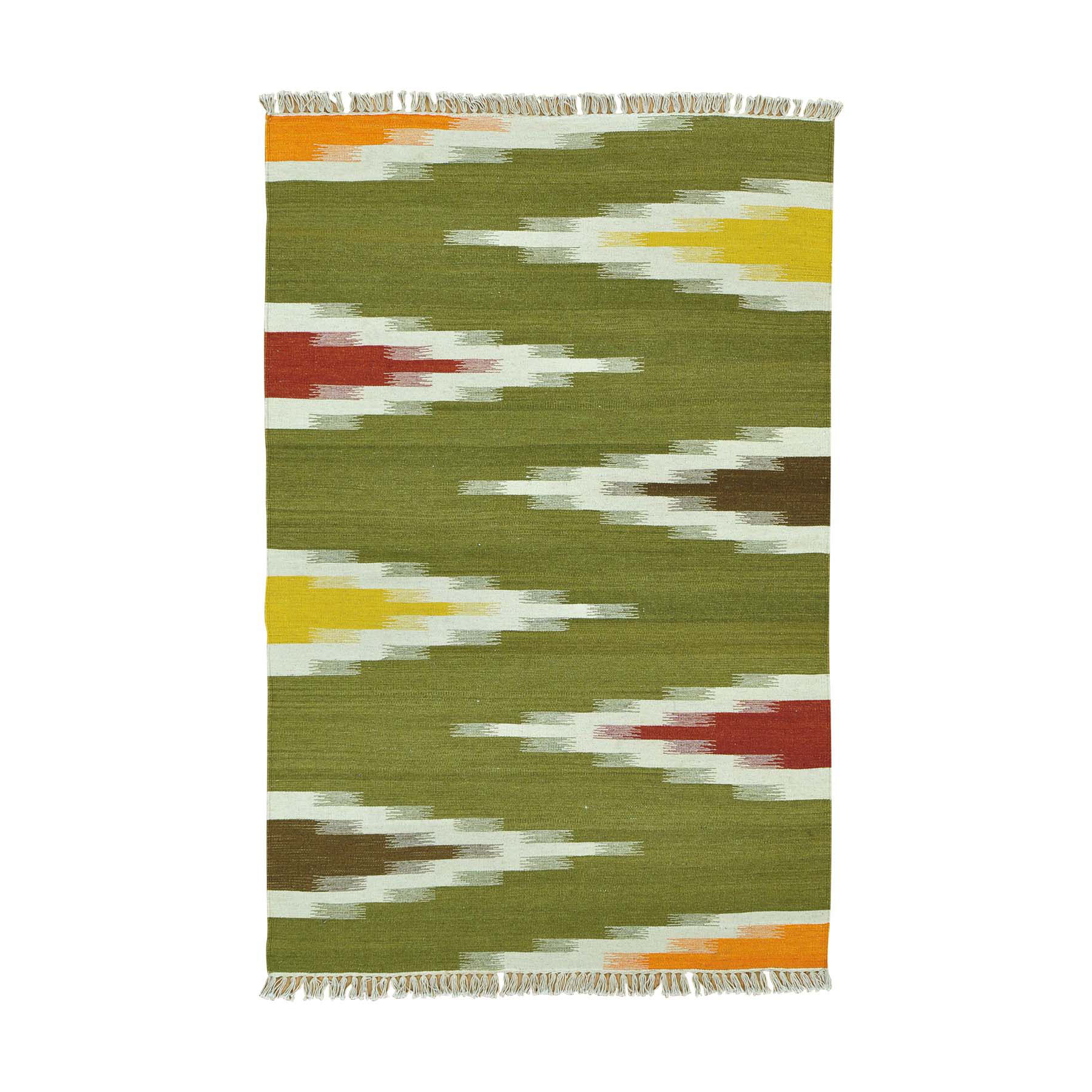 "4'1""X6'3"" Flat Weave Hand Woven Durie Kilim Pure Wool Colorful Rug moac0aa8"