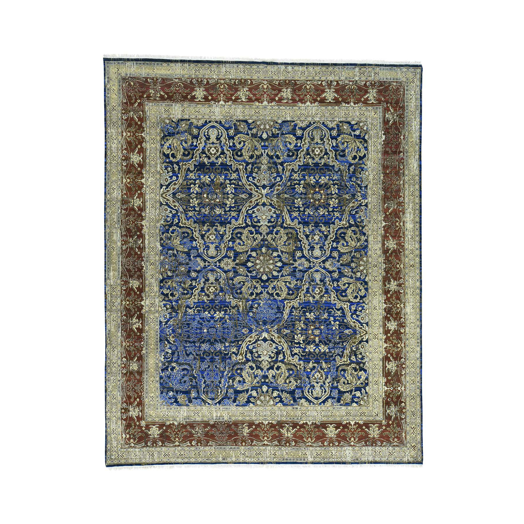"8'X10'2"" Wool And Silk Hand Knotted Abrash Oriental Rug moac0a8c"