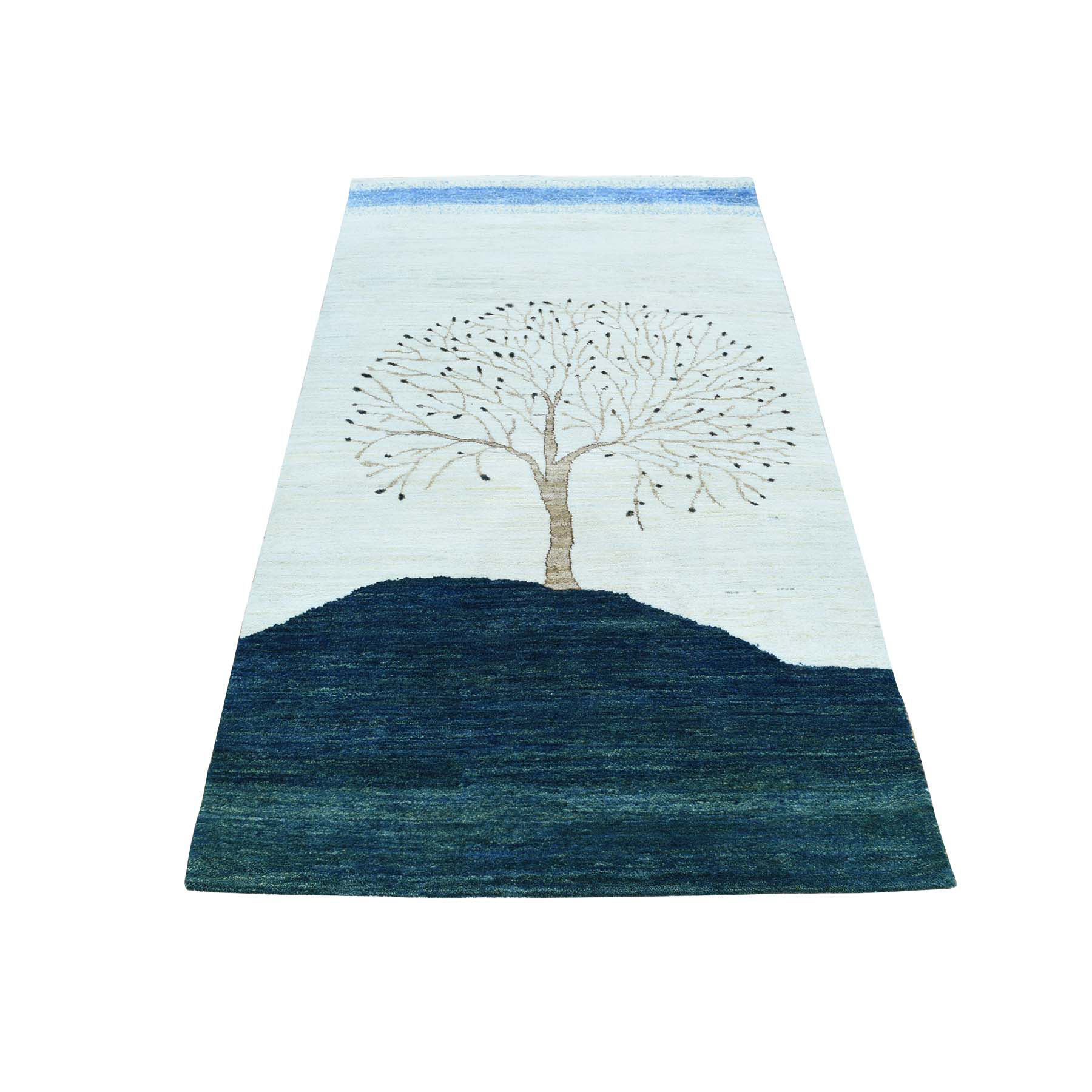 """3'X5'4"""" Modern Pictorial Design Gabbeh Pure Wool Hand Knotted Rug moac0b09"""